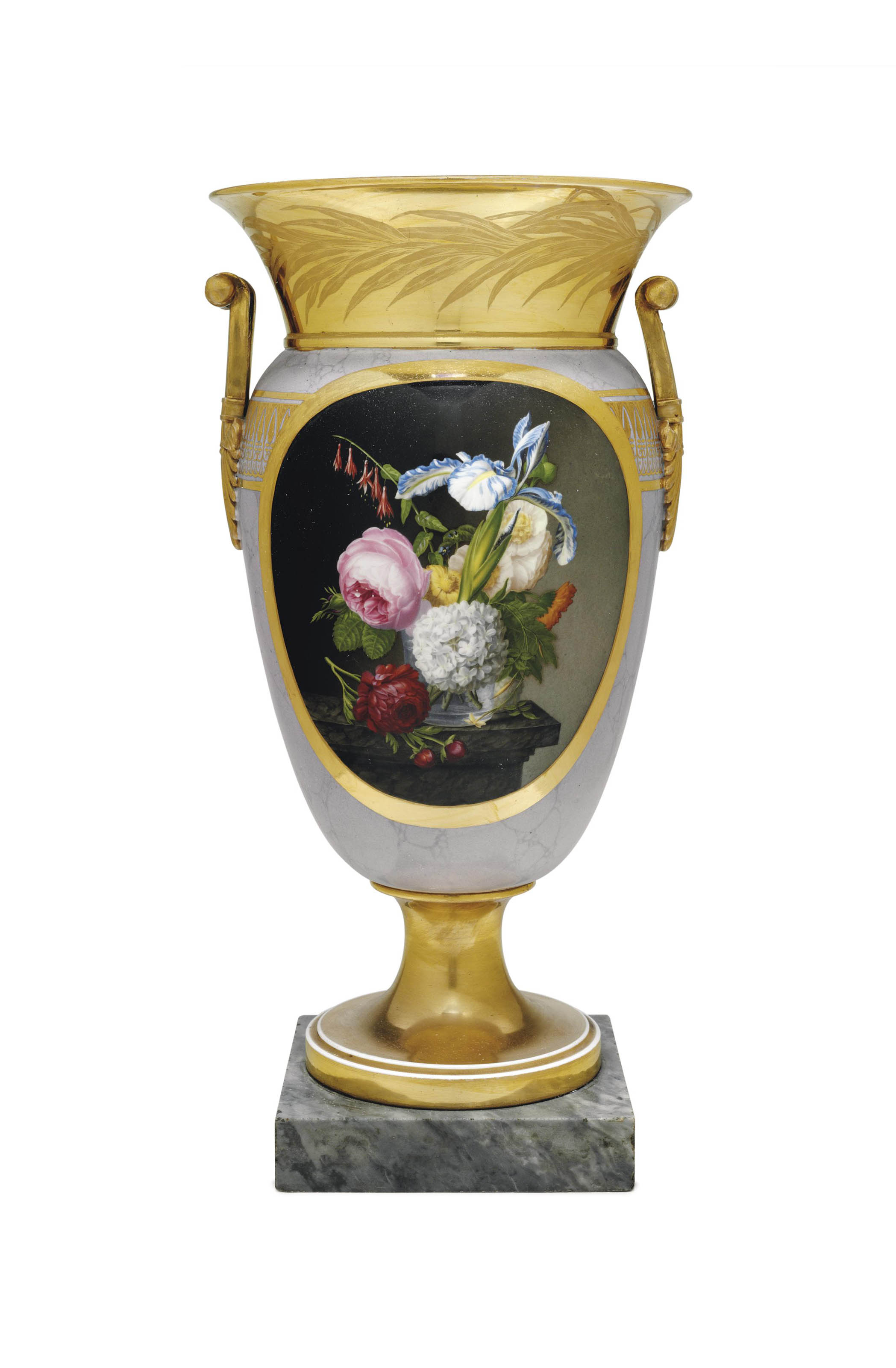 A PARIS (DAGOTY) PORCELAIN GOLD AND FAUX-LAVENDER MARBLE GROUND VASE
