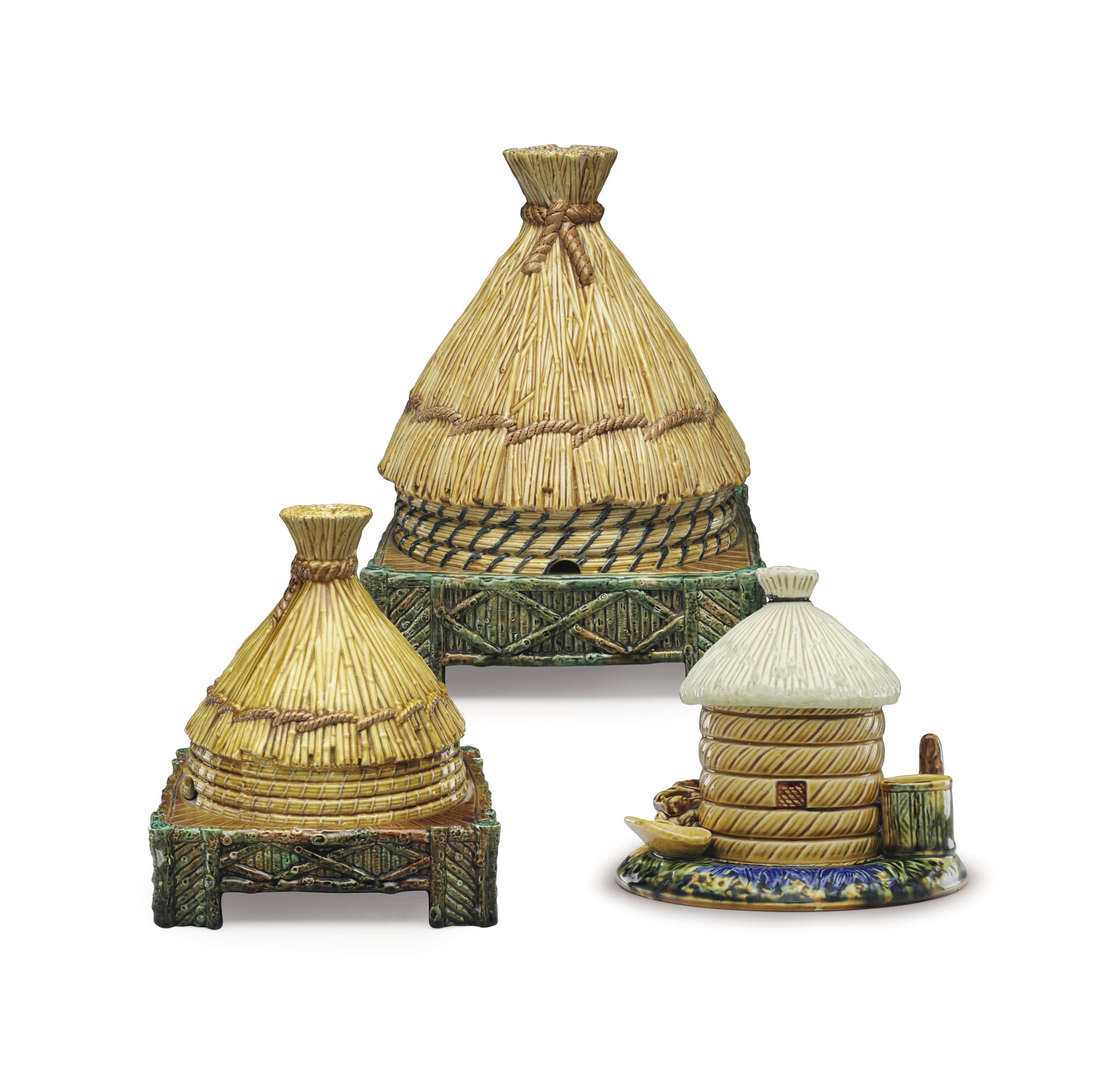 TWO GEORGE JONES MAJOLICA CHEESE BELLS AND STANDS