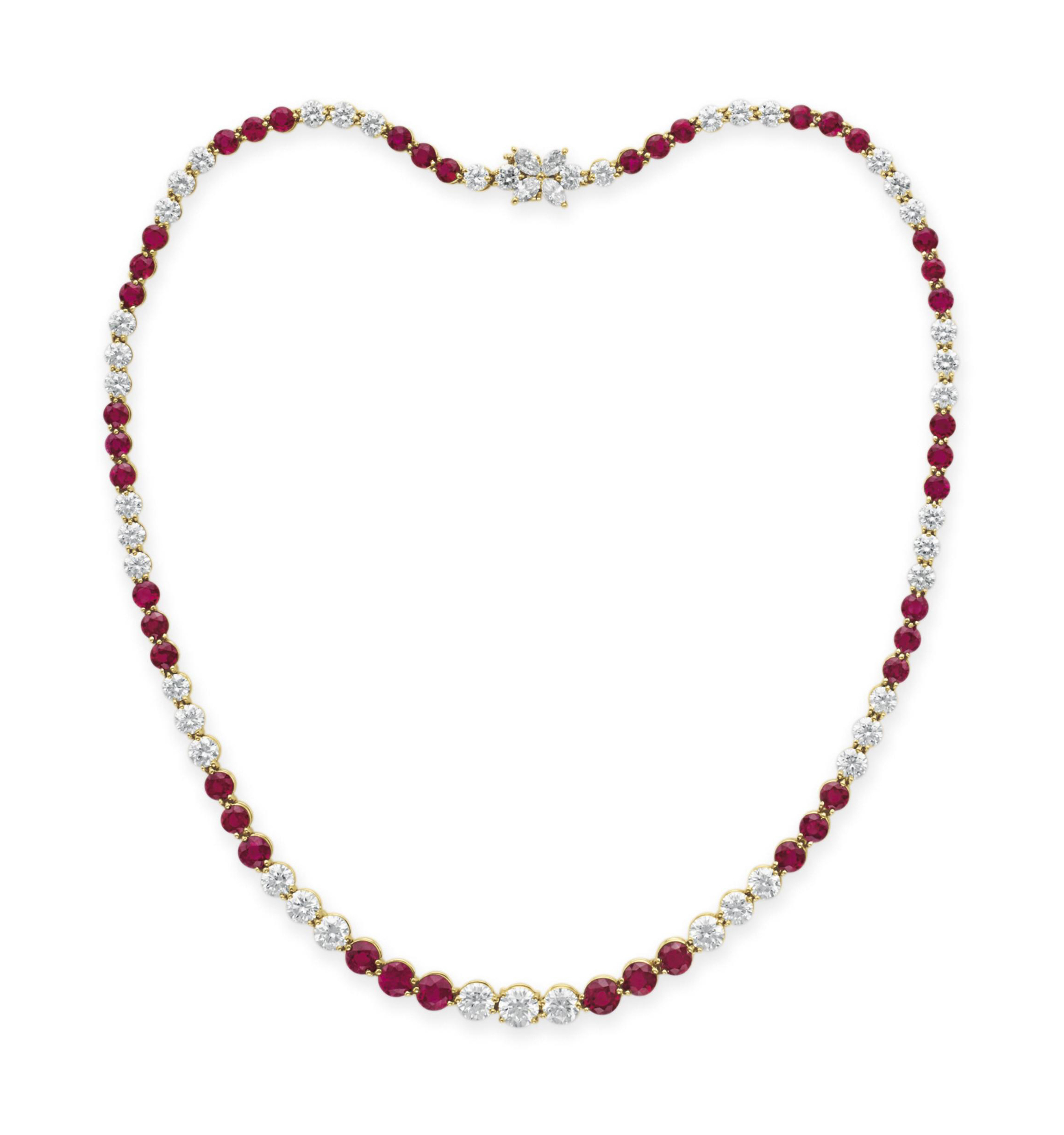 d11f72b832bfb A DIAMOND AND RUBY NECKLACE, BY TIFFANY & CO. | Jewelry, necklace ...