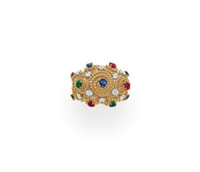A DIAMOND, MULTI-GEM AND GOLD