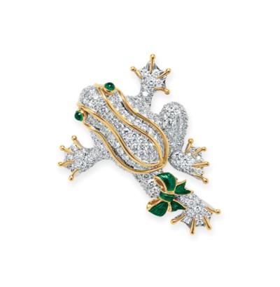 A DIAMOND, EMERALD AND ENAMEL