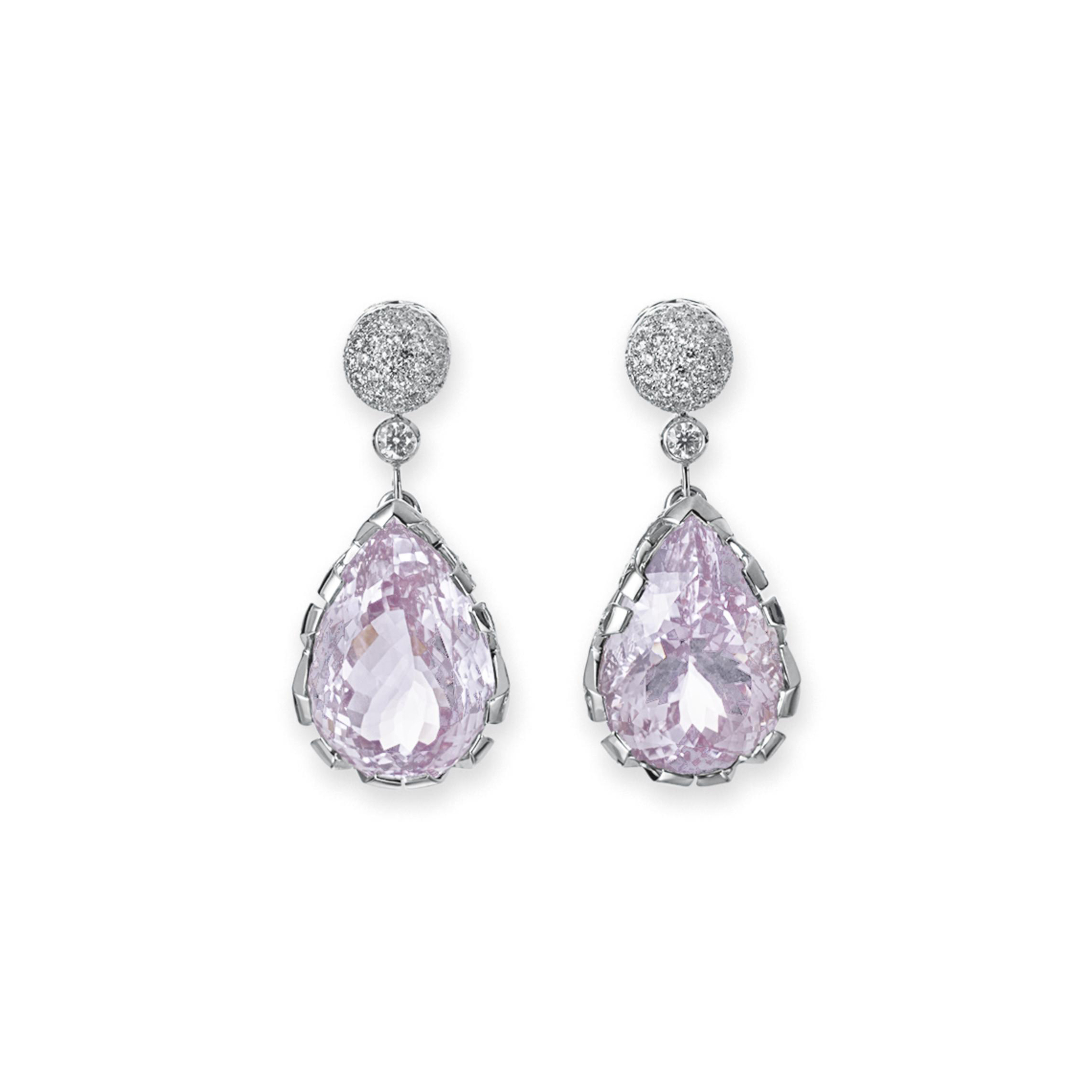 A PAIR OF KUNZITE AND DIAMOND EAR PENDANTS, BY PALOMA PICASSO, TIFFANY & CO.