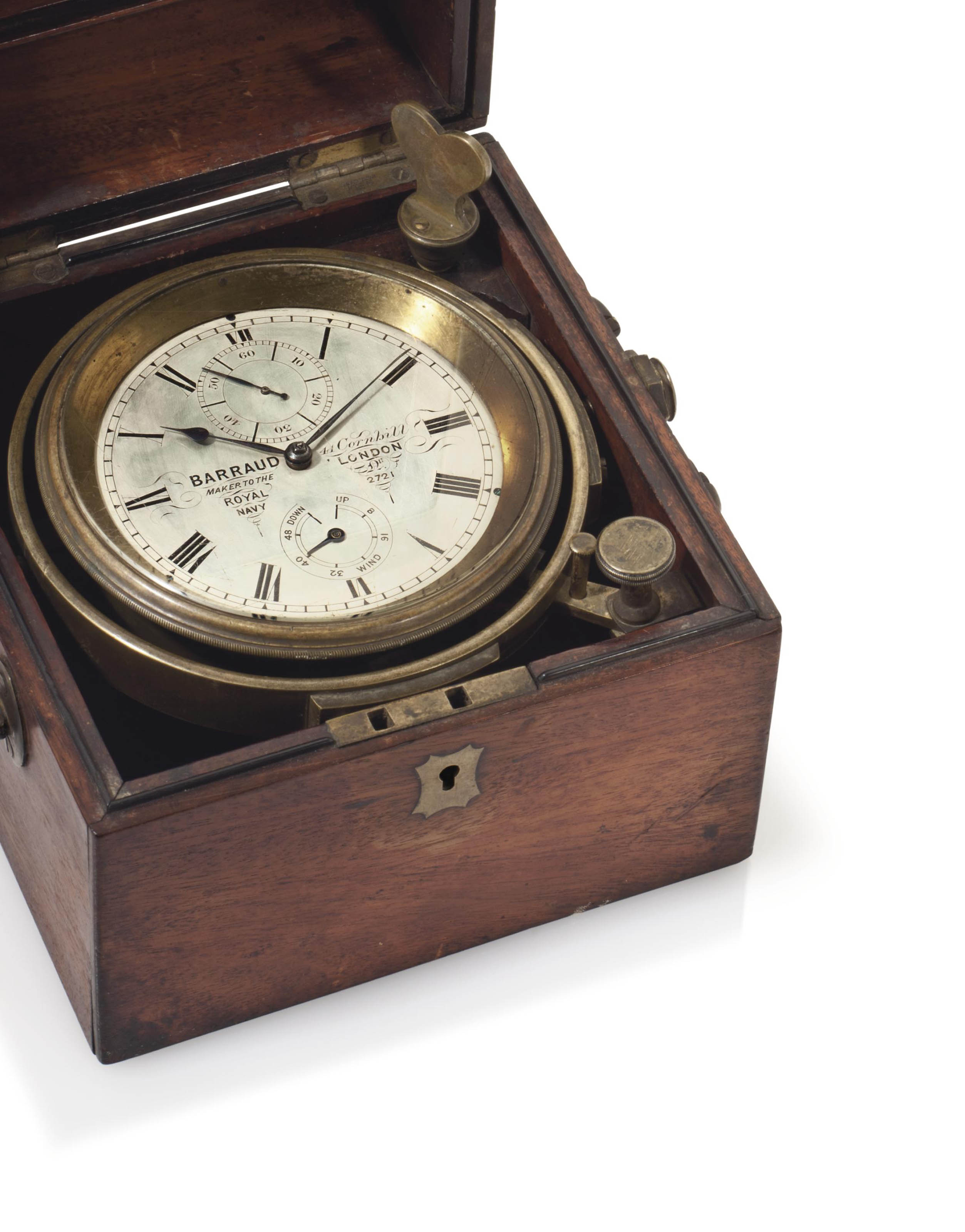 Barraud. A Mahogany Two-Day Marine Chronometer with Helical Hairspring and Power Reserve Indication