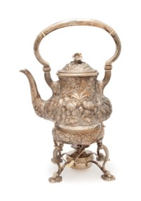 AN AMERICAN SILVER HOT WATER KETTLE ON STAND,
