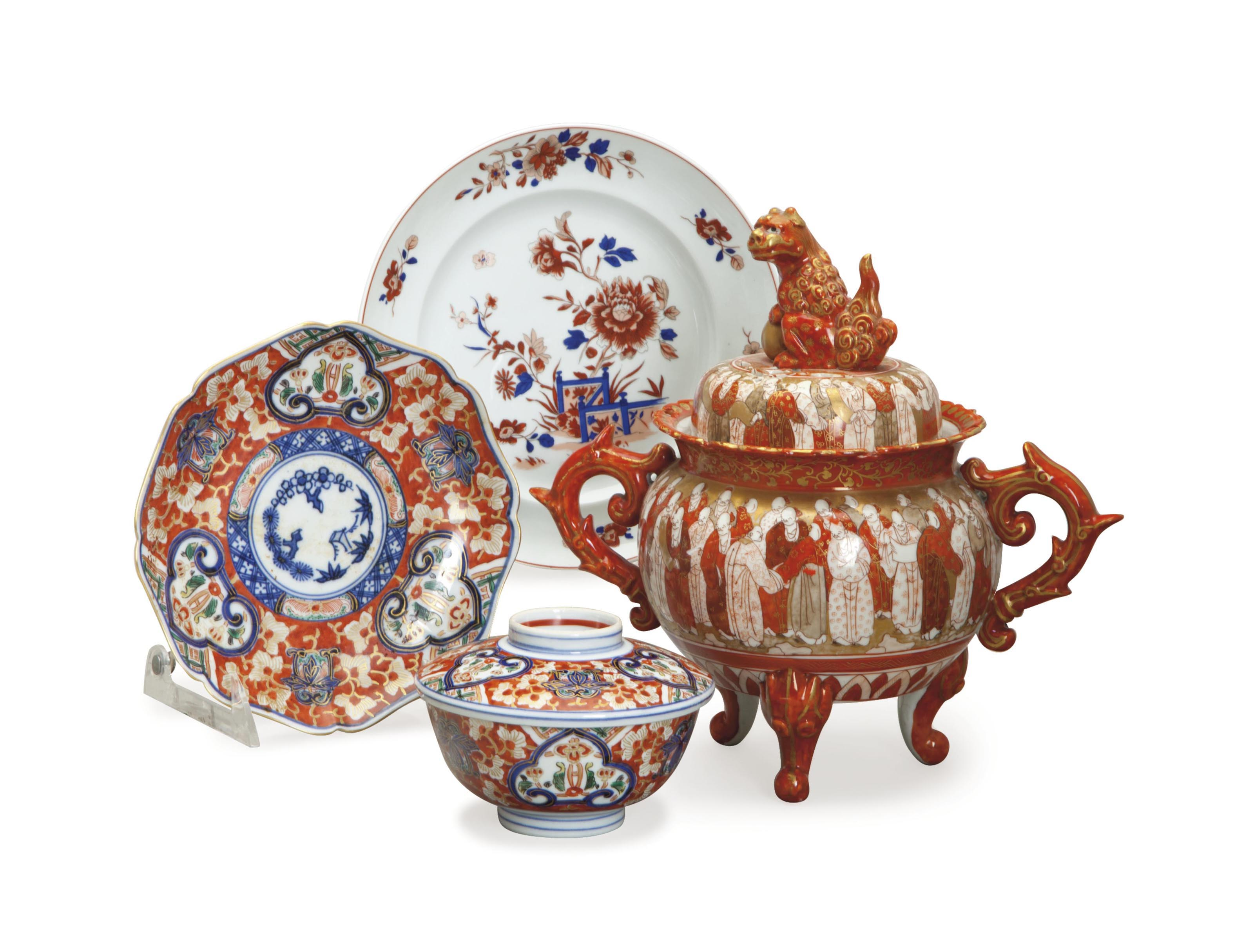 A PORTUGUESE PORCELAIN PART DINNER SERVICE AND A GROUP OF JAPANESE IMARI WARES,