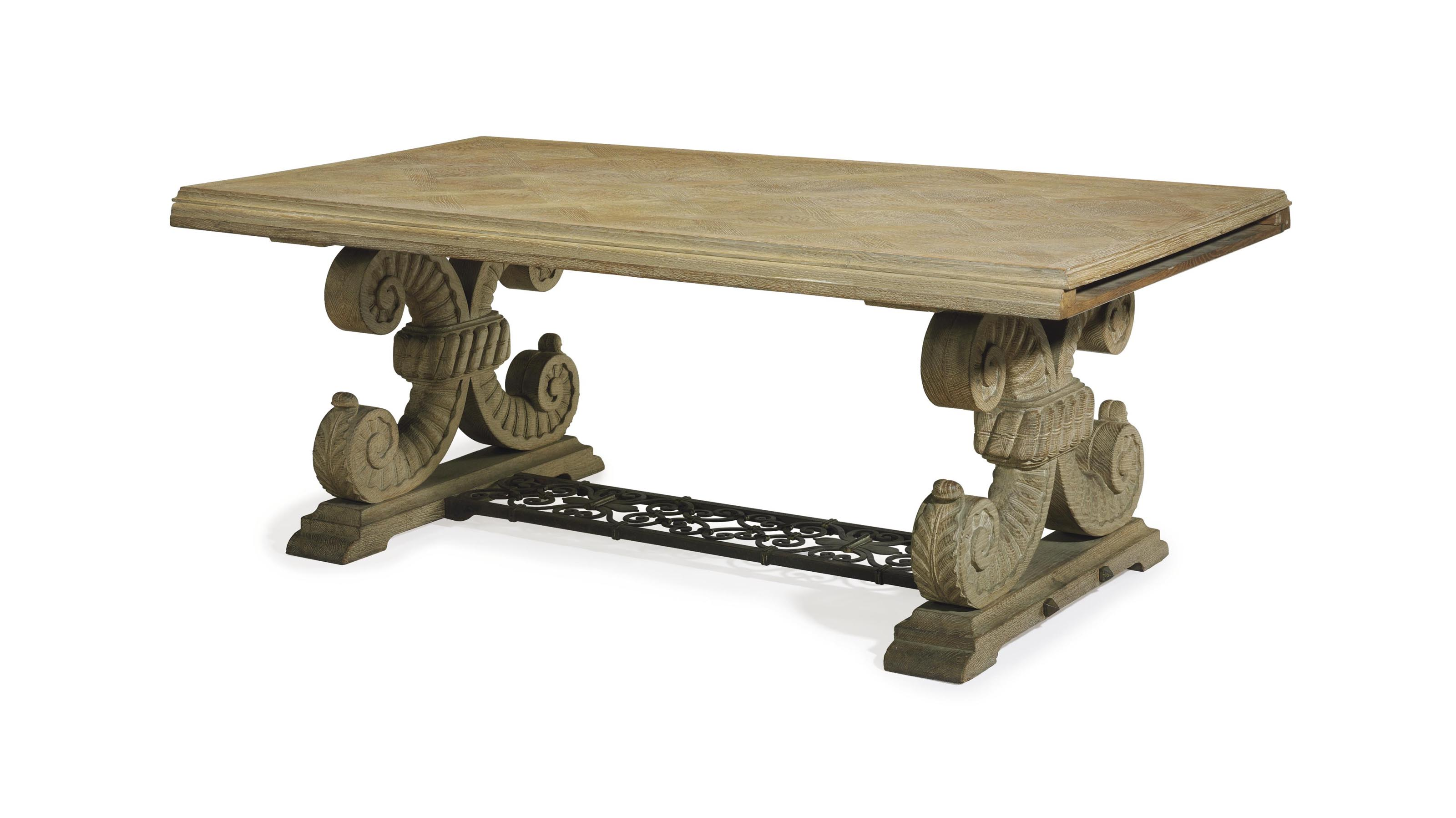 A FRENCH LIMED OAK EXTENSION DINING TABLE,