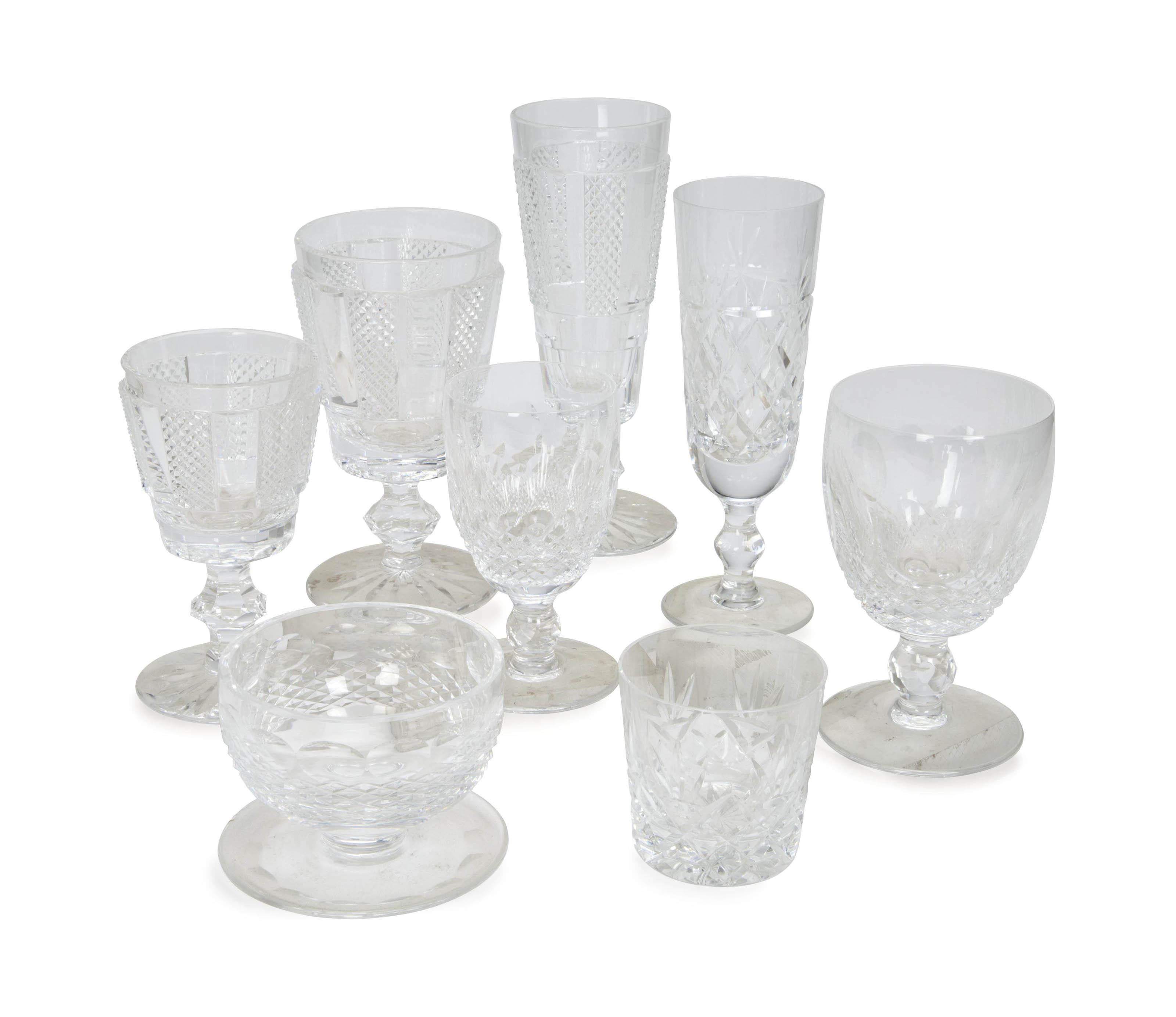 AN ASSEMBLED IRISH CUT-GLASS STEMWARE PART SERVICES,
