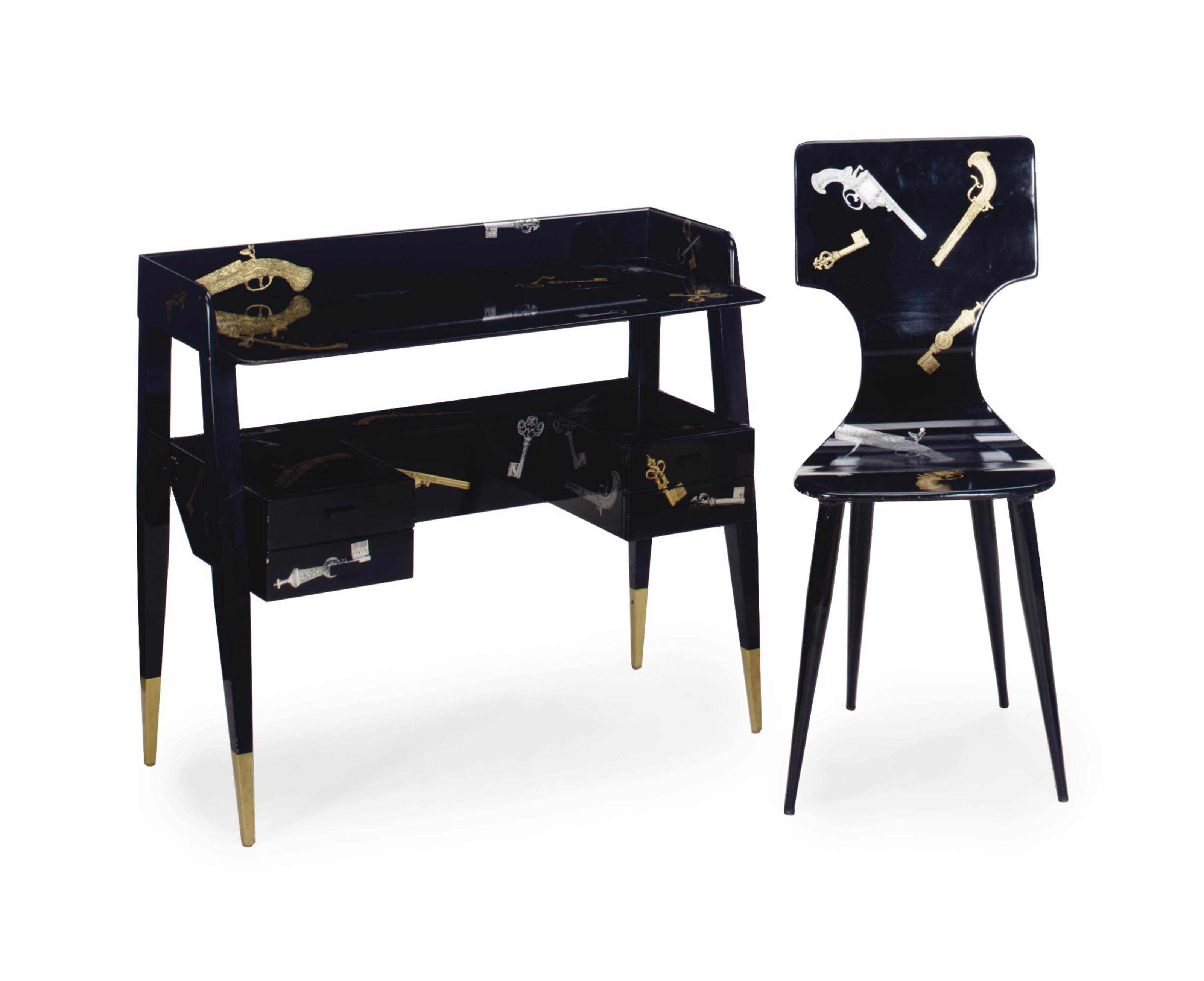 Superb An Italian Black Lacquered And Lithograph Decorated Writing Onthecornerstone Fun Painted Chair Ideas Images Onthecornerstoneorg