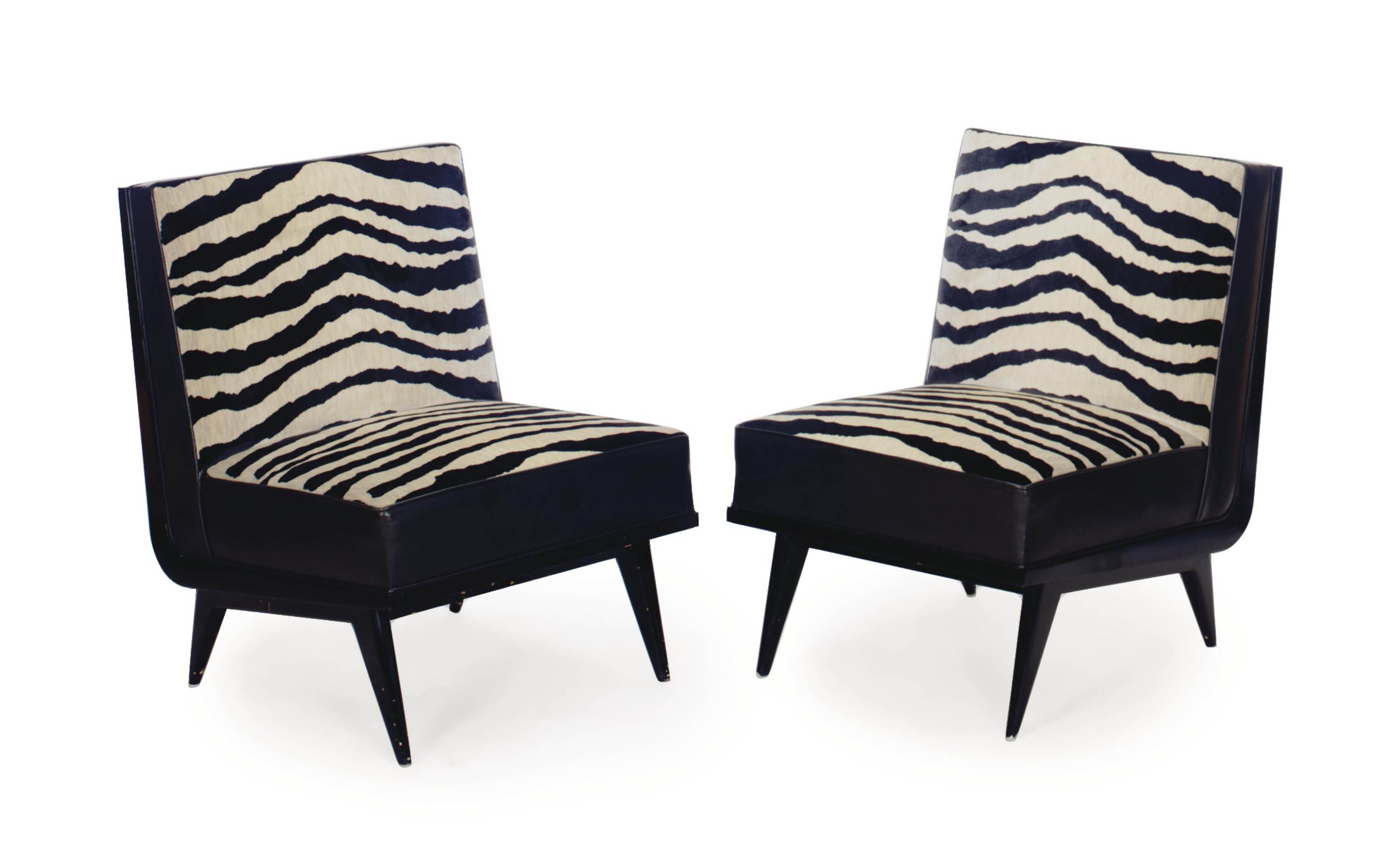 Amazing A Pair Of Black Leather And Faux Zebra Velour Upholstered Ibusinesslaw Wood Chair Design Ideas Ibusinesslaworg