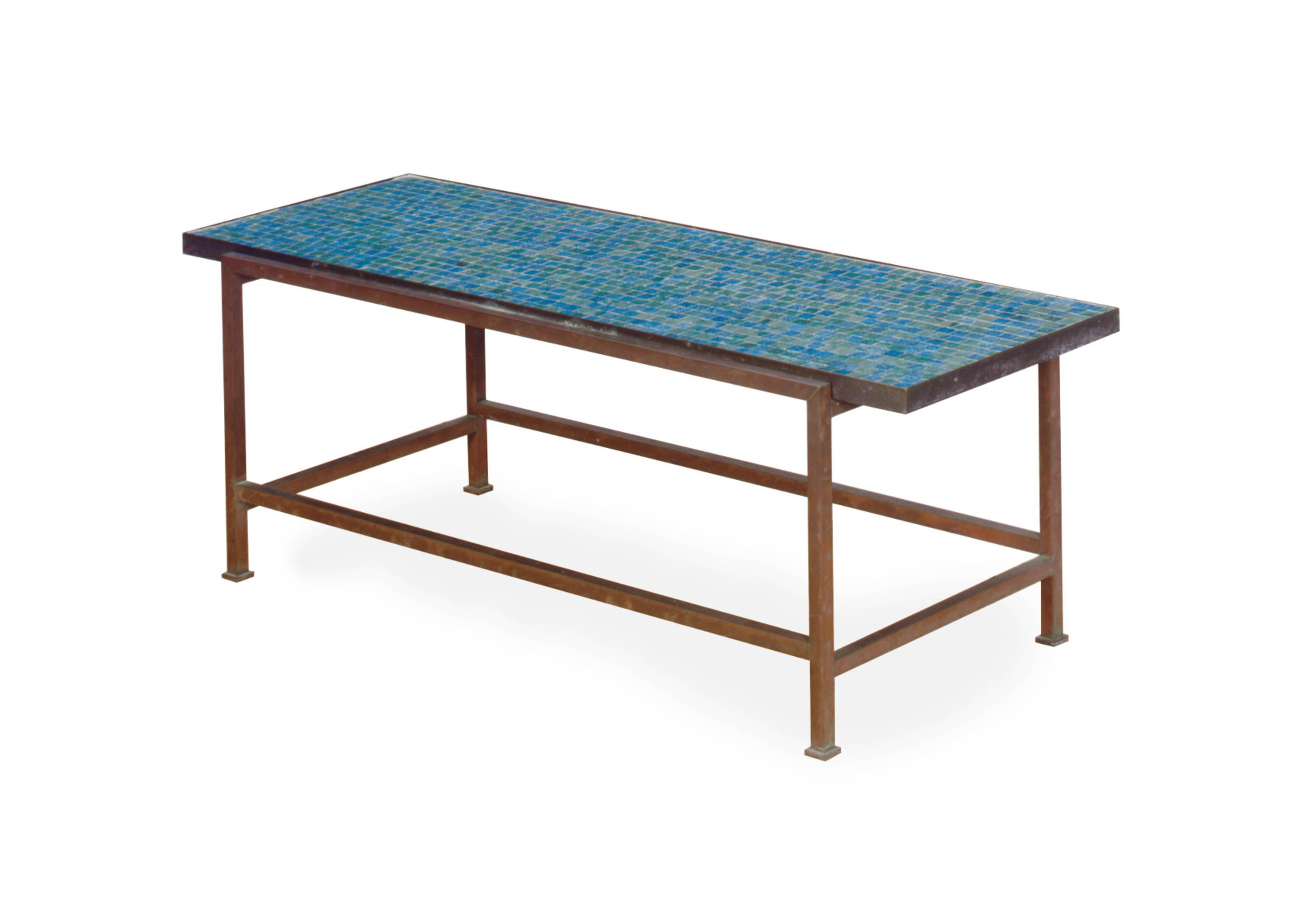 A Patinated Metal Tile Top Table Edward Wormley For