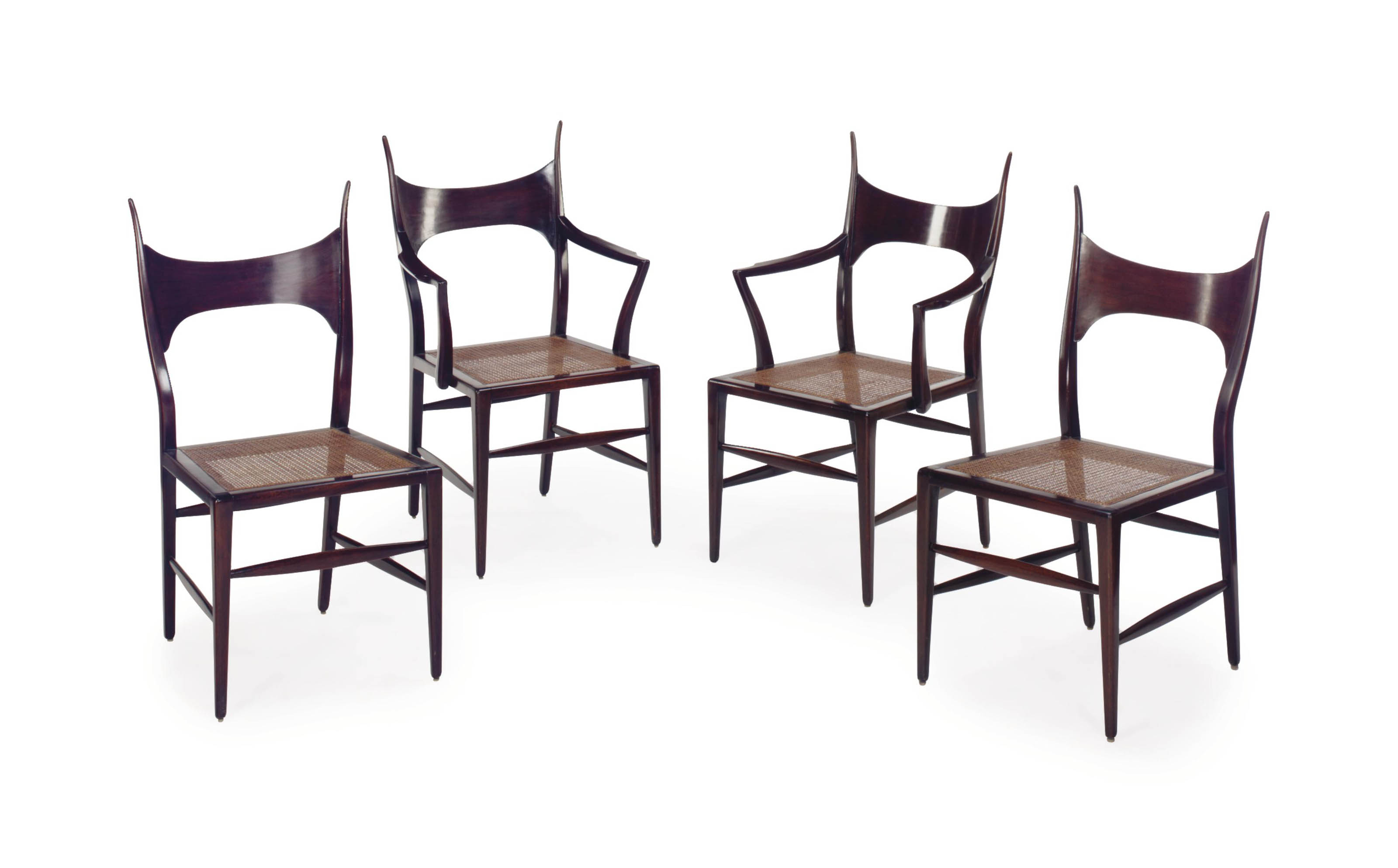 A SET OF EIGHT MAHOGANY AND CANED-SEAT DINING CHAIRS,