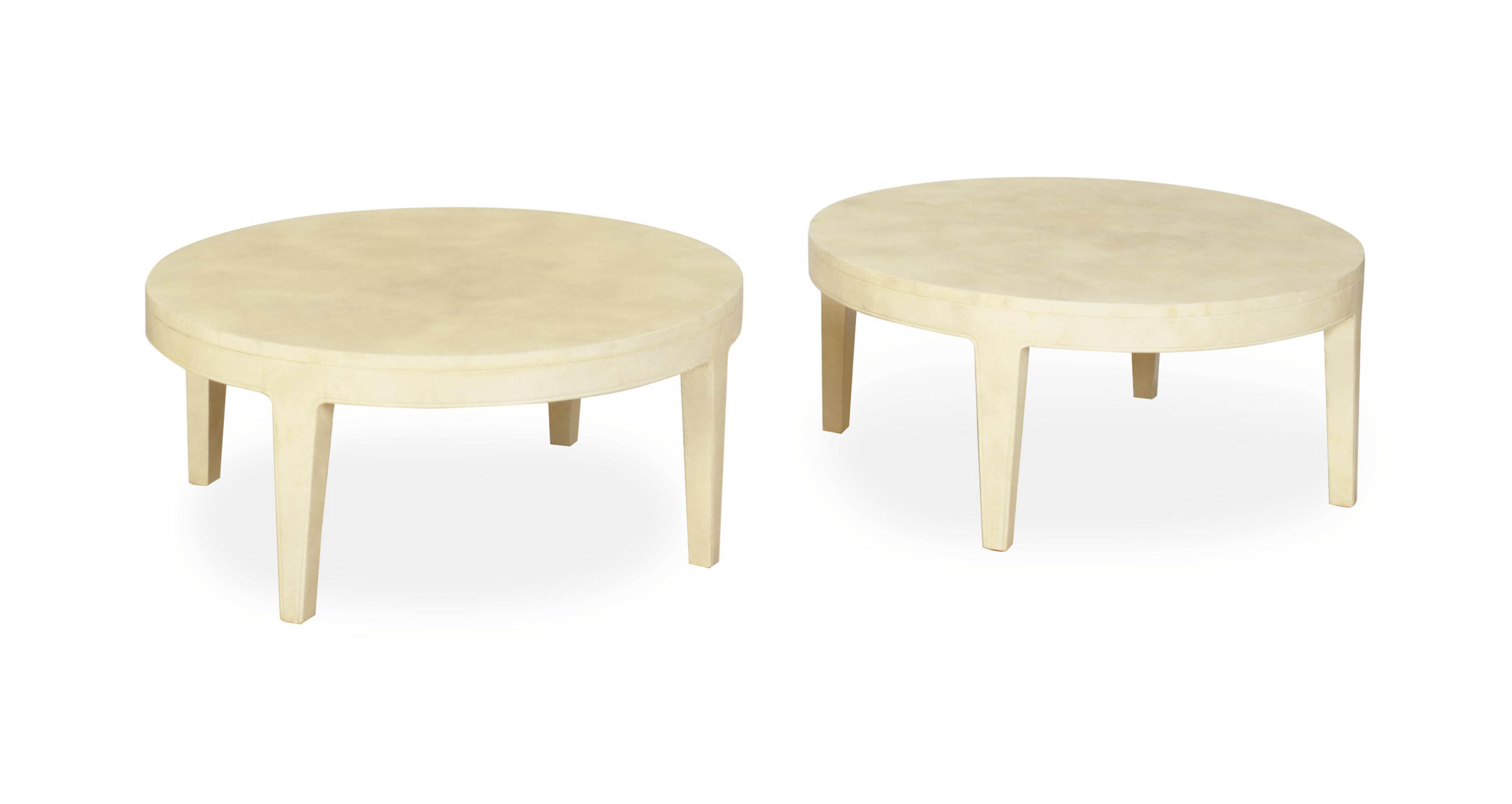 A PAIR OF FAUX PARCHMENT-PAINTED CIRCULAR LOW TABLES,