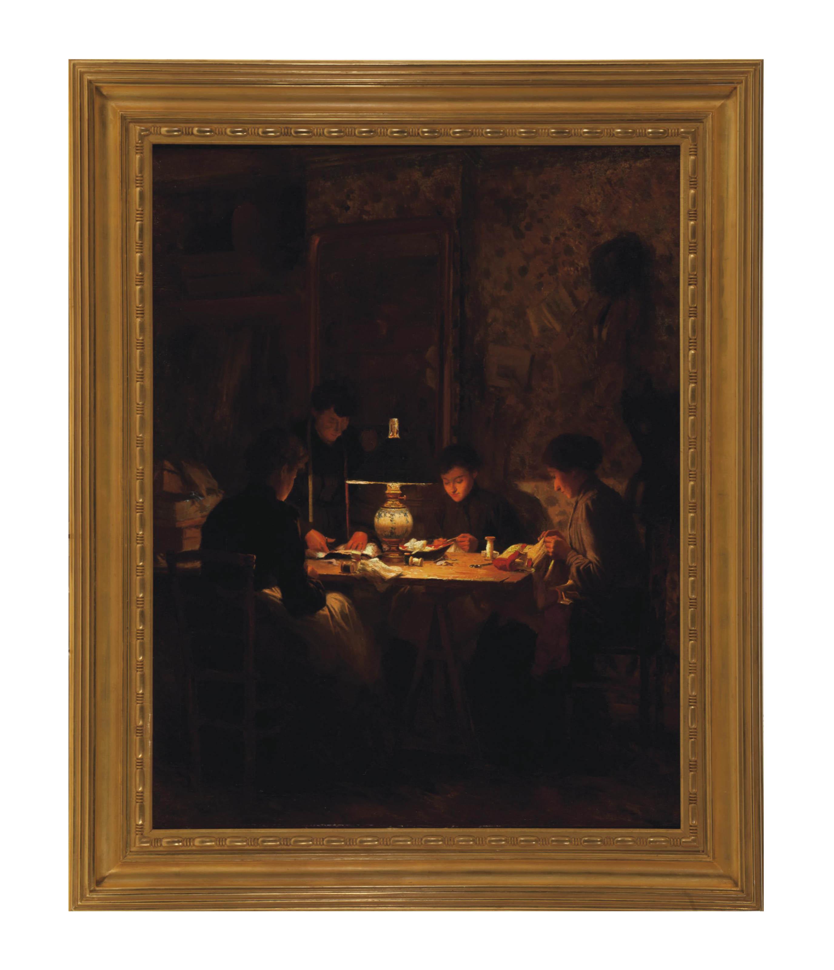 Women sewing by lamplight