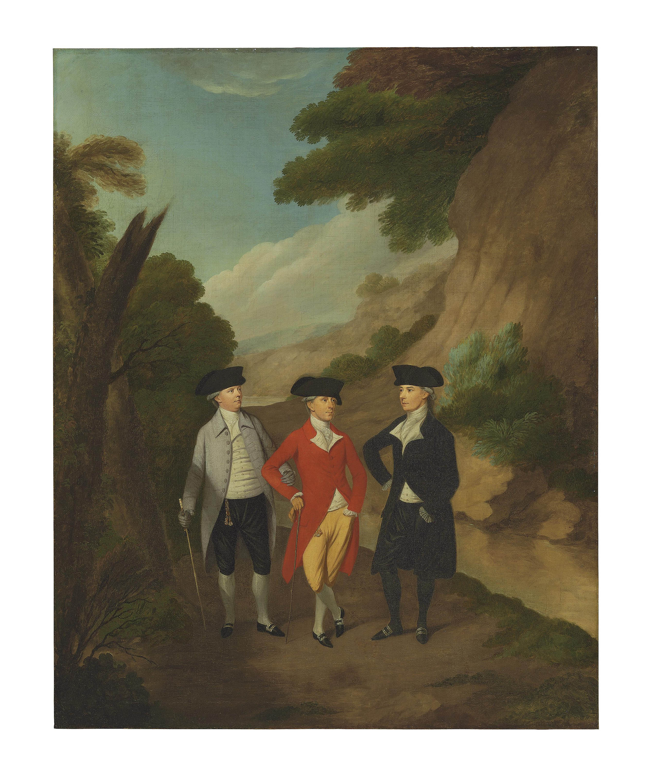 A group portrait traditionally identified as John Johnson, Mr. Croft and William Bentham