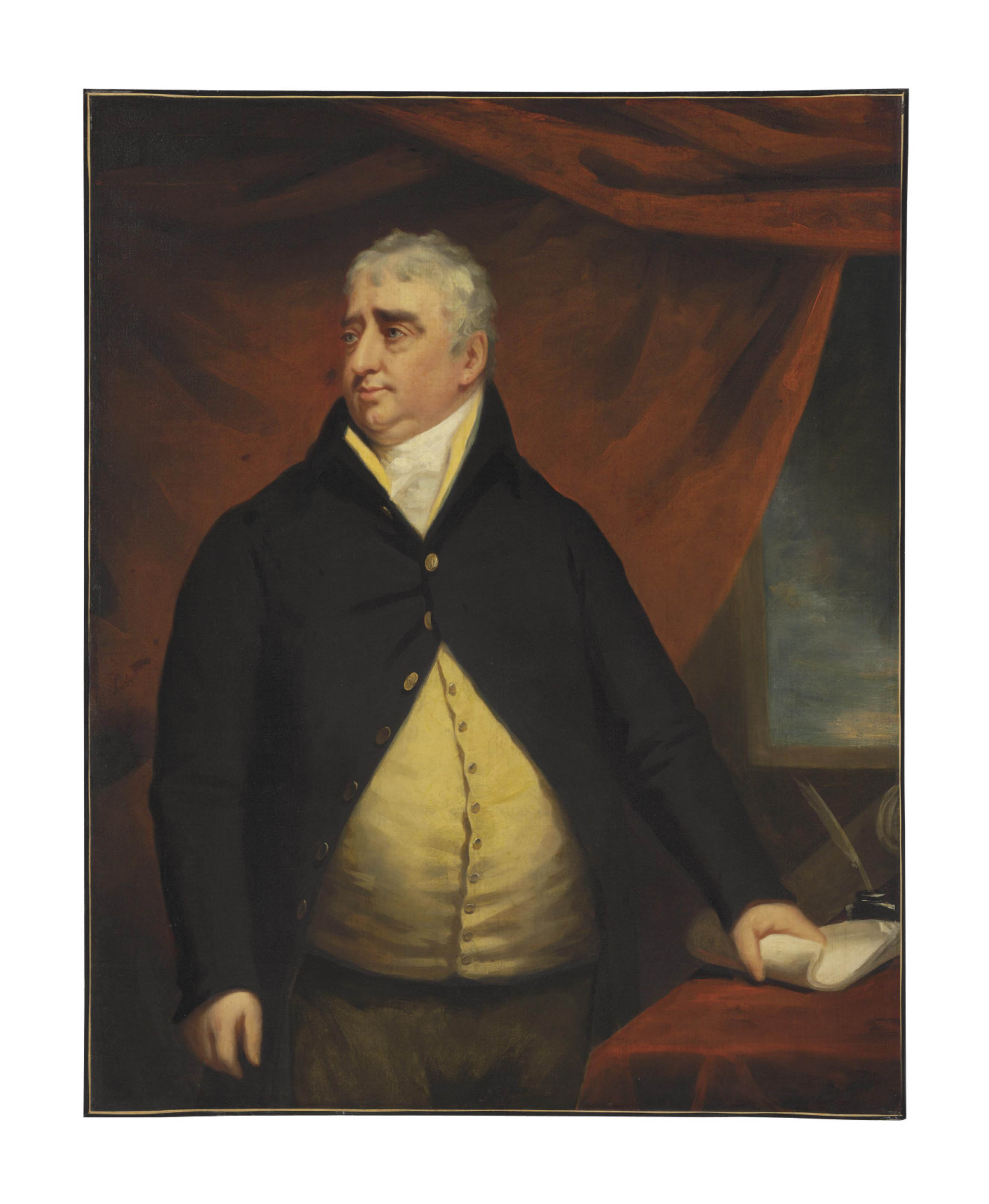 Portrait of the Right Honourable Charles James Fox, three-quarter-length, standing beside a table