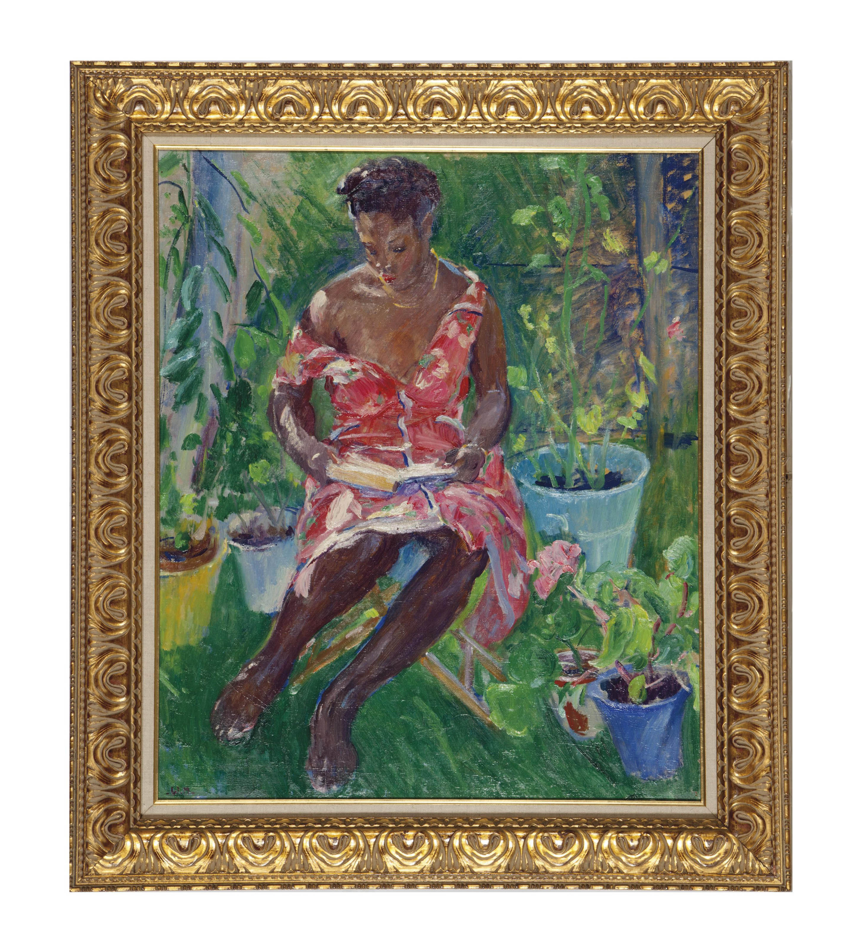 Lady reading in the garden