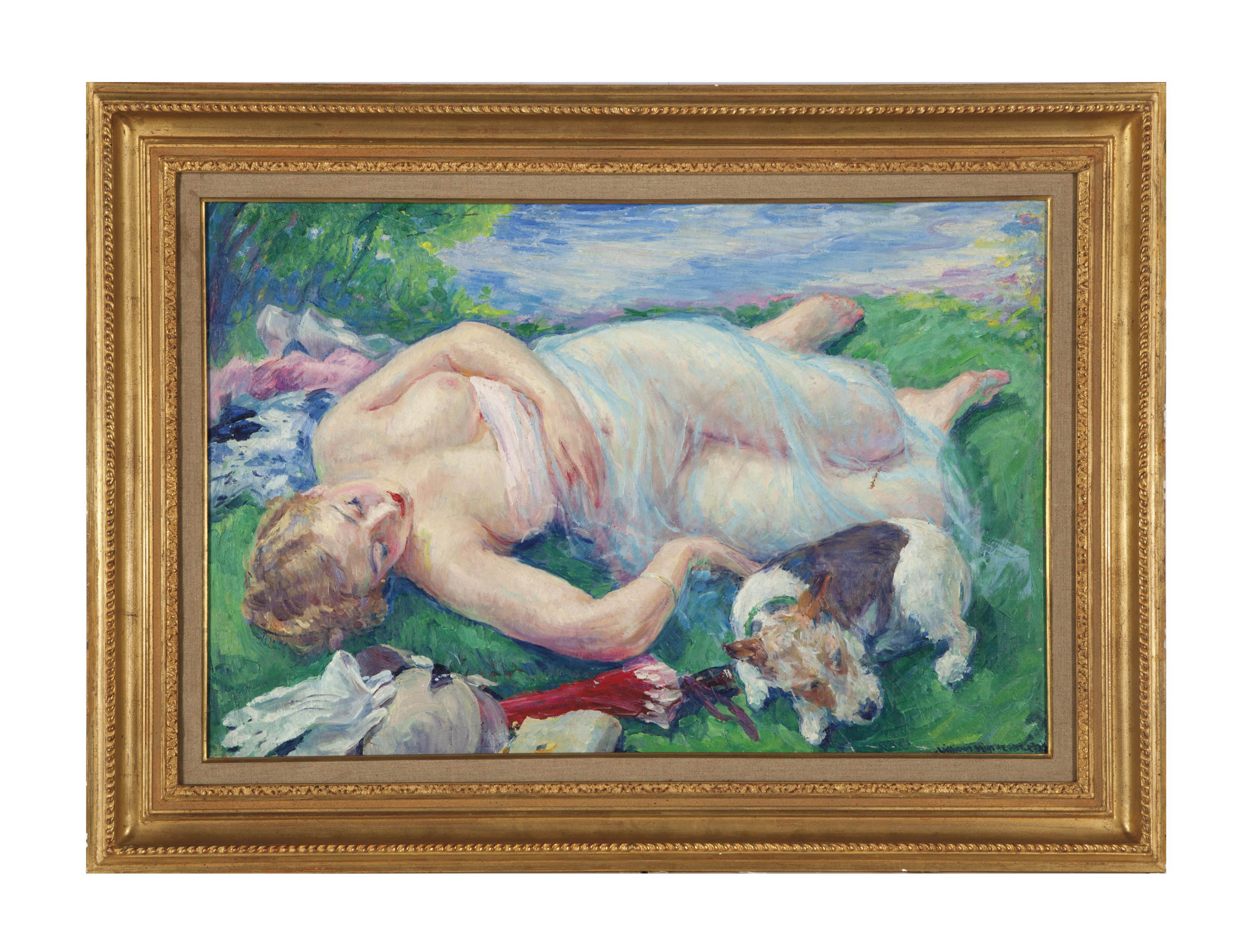 Reclining nude with her dog