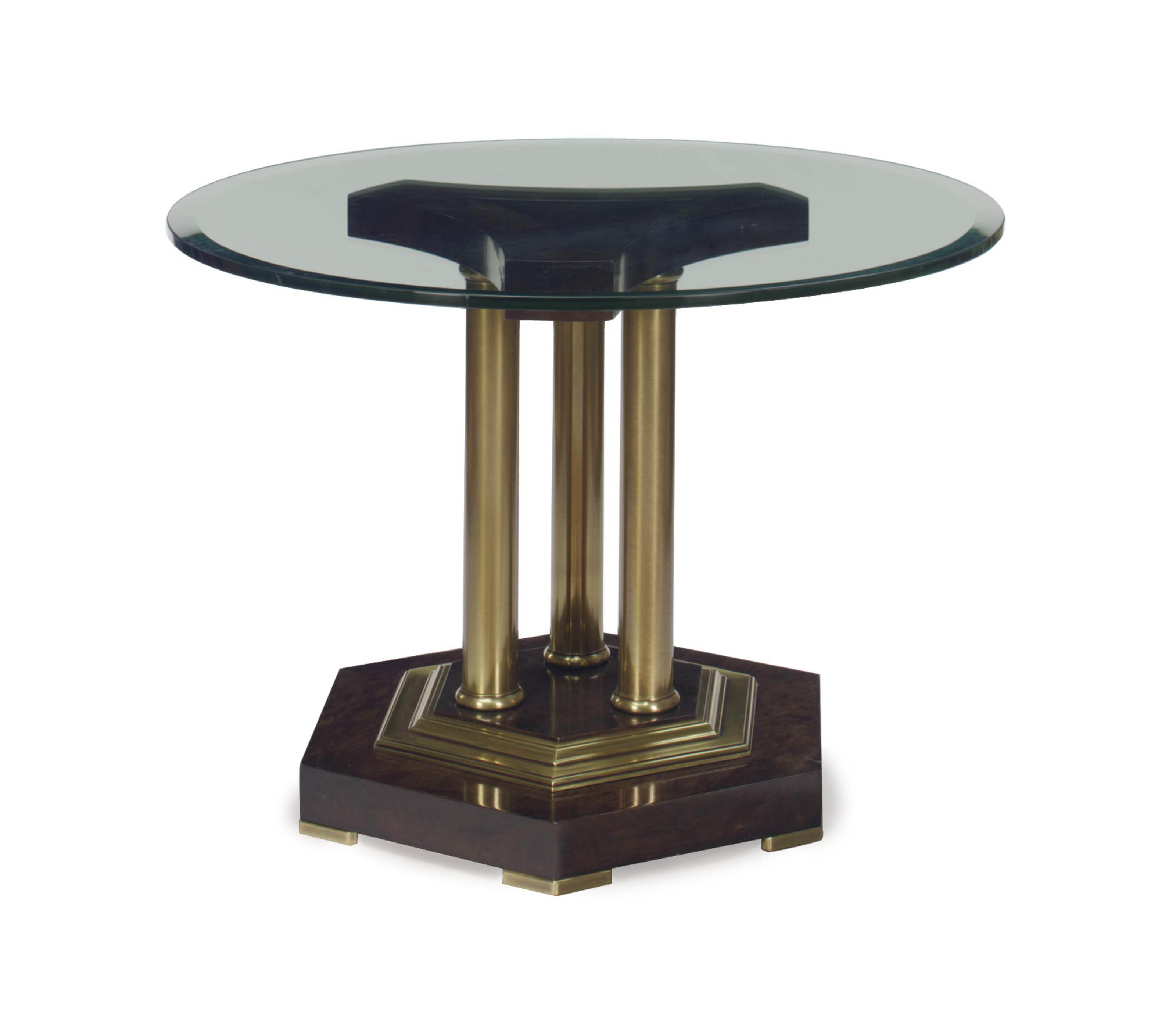 A stained wood brass and glass top circular center table for Table th center