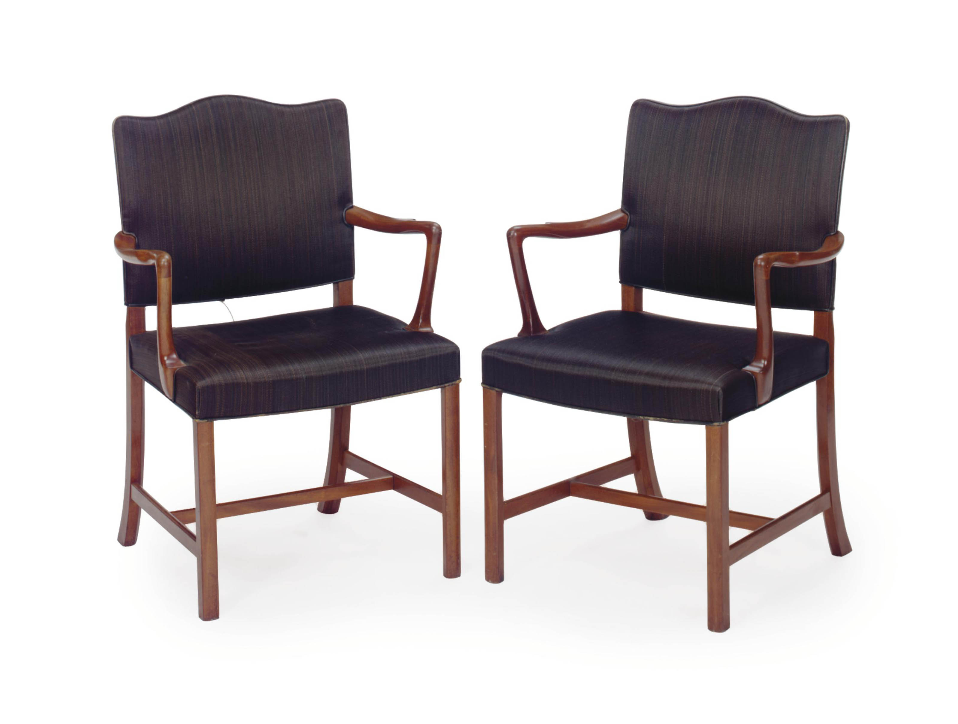 A PAIR OF DANISH MAHOGANY AND HORSEHAIR-COVERED ARMCHAIRS,
