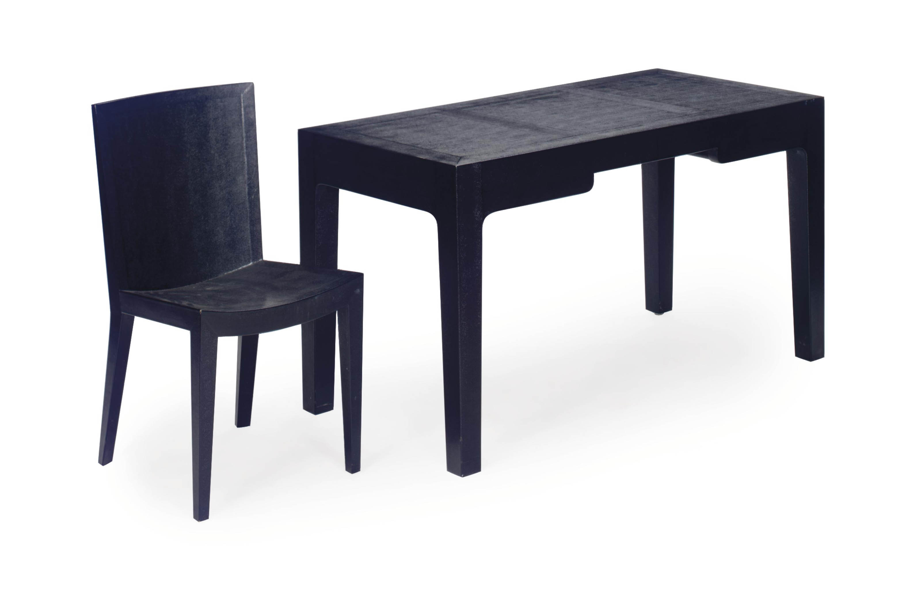 A BLACK FAUX LIZARD SKIN WRITING TABLE AND CHAIR,