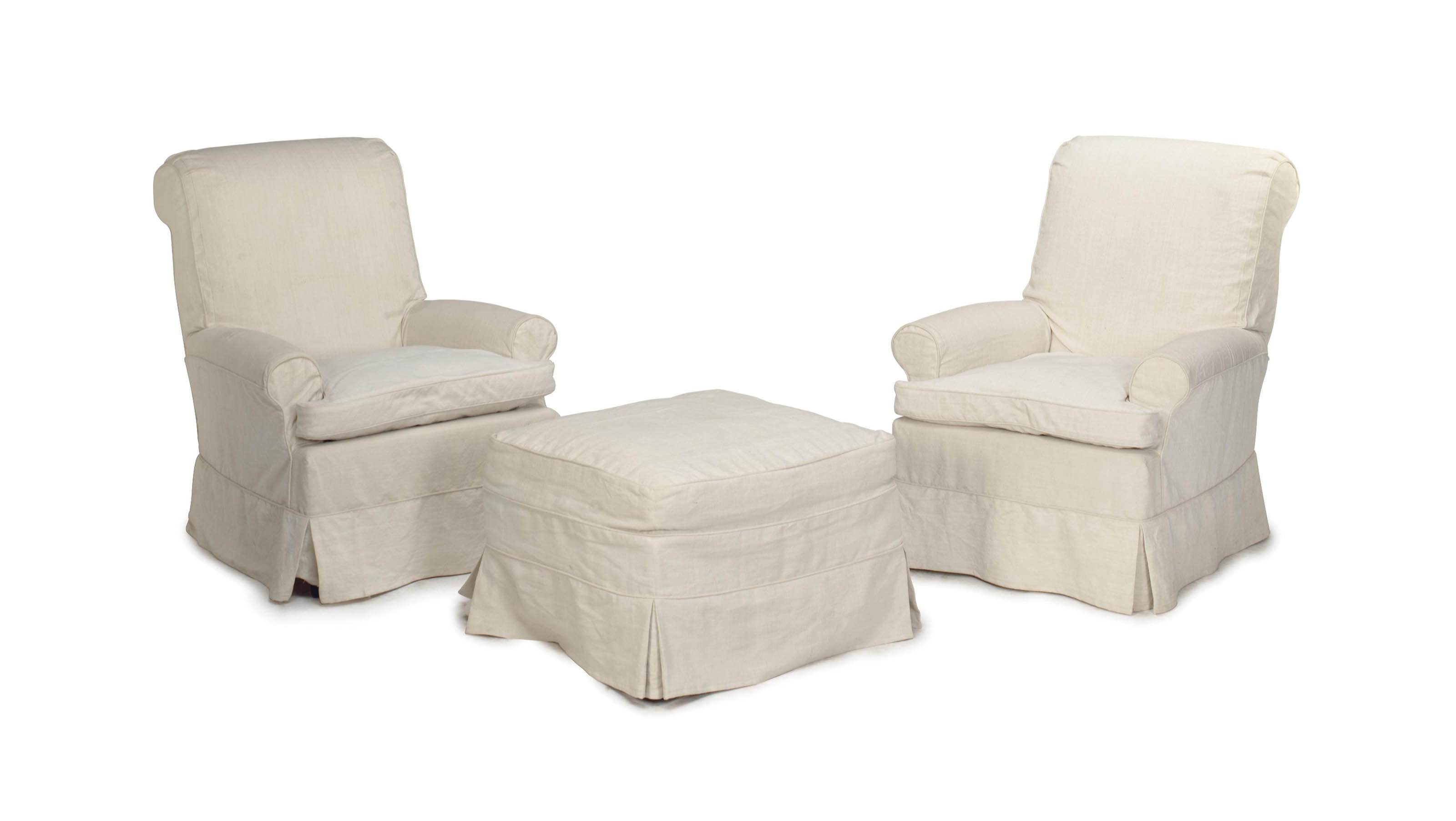 A Pair Of Off White Linen Upholstered Club Chairs And An Ottoman