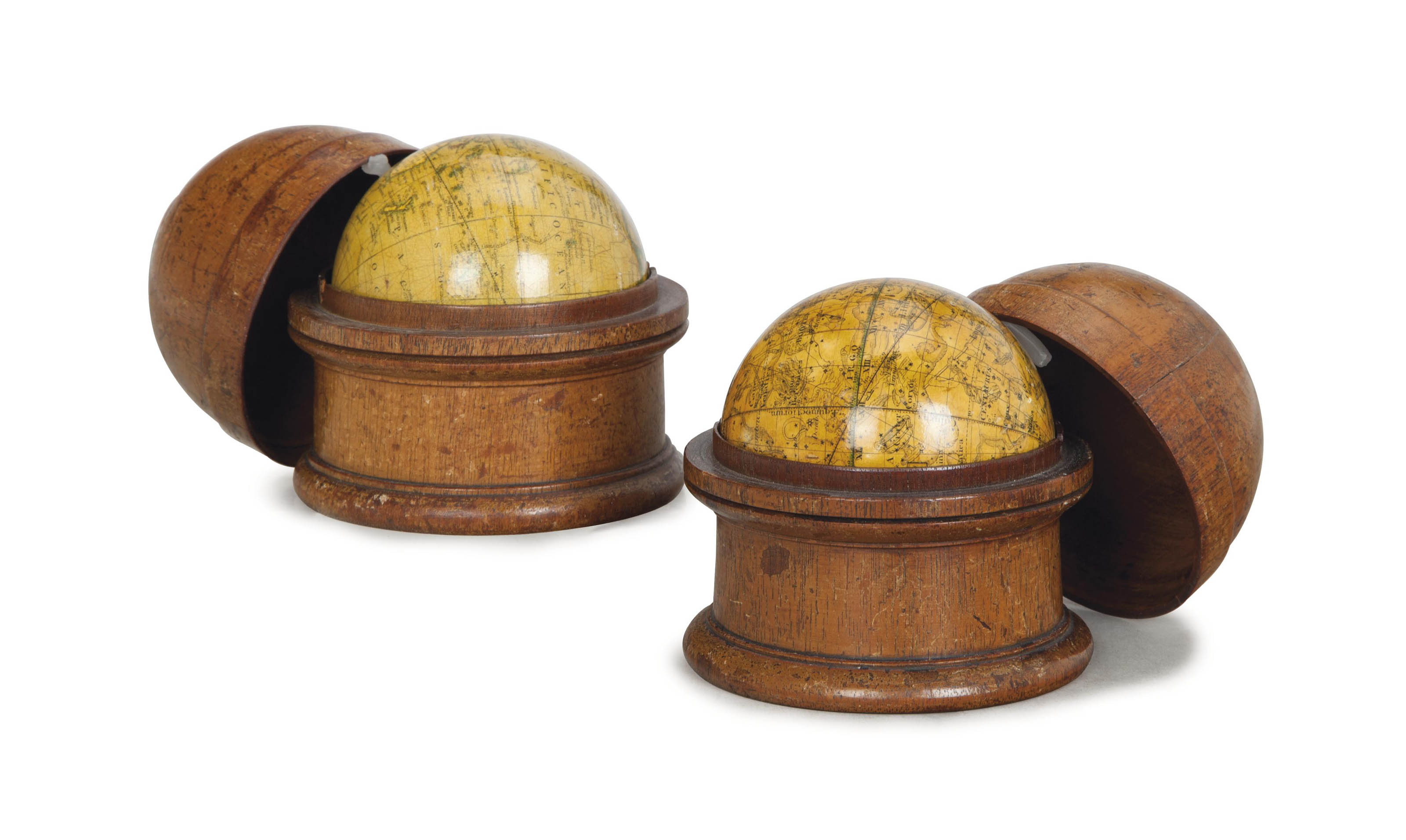 A PAIR OF ENGLISH TERRESTRIAL AND CELESTIAL POCKET GLOBES,