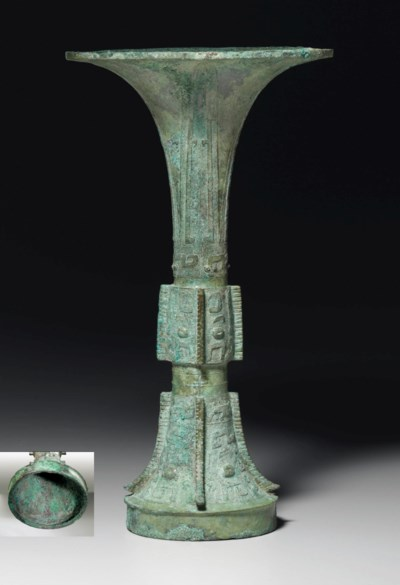 Section 1231 Property: A BRONZE RITUAL WINE VESSEL, GU , LATE SHANG DYNASTY, 12TH
