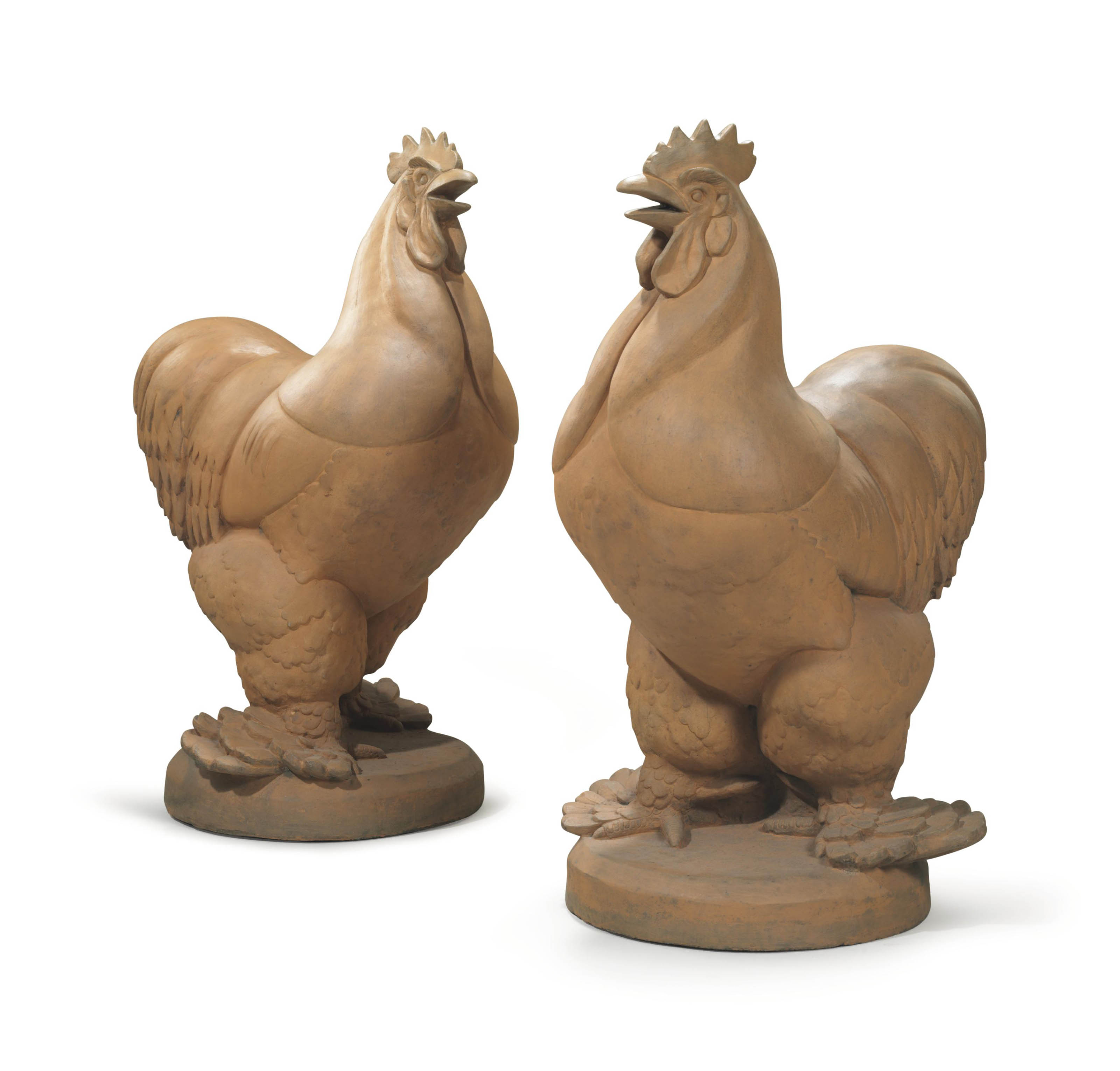'Pajamas': A Pair of Gatepost Roosters