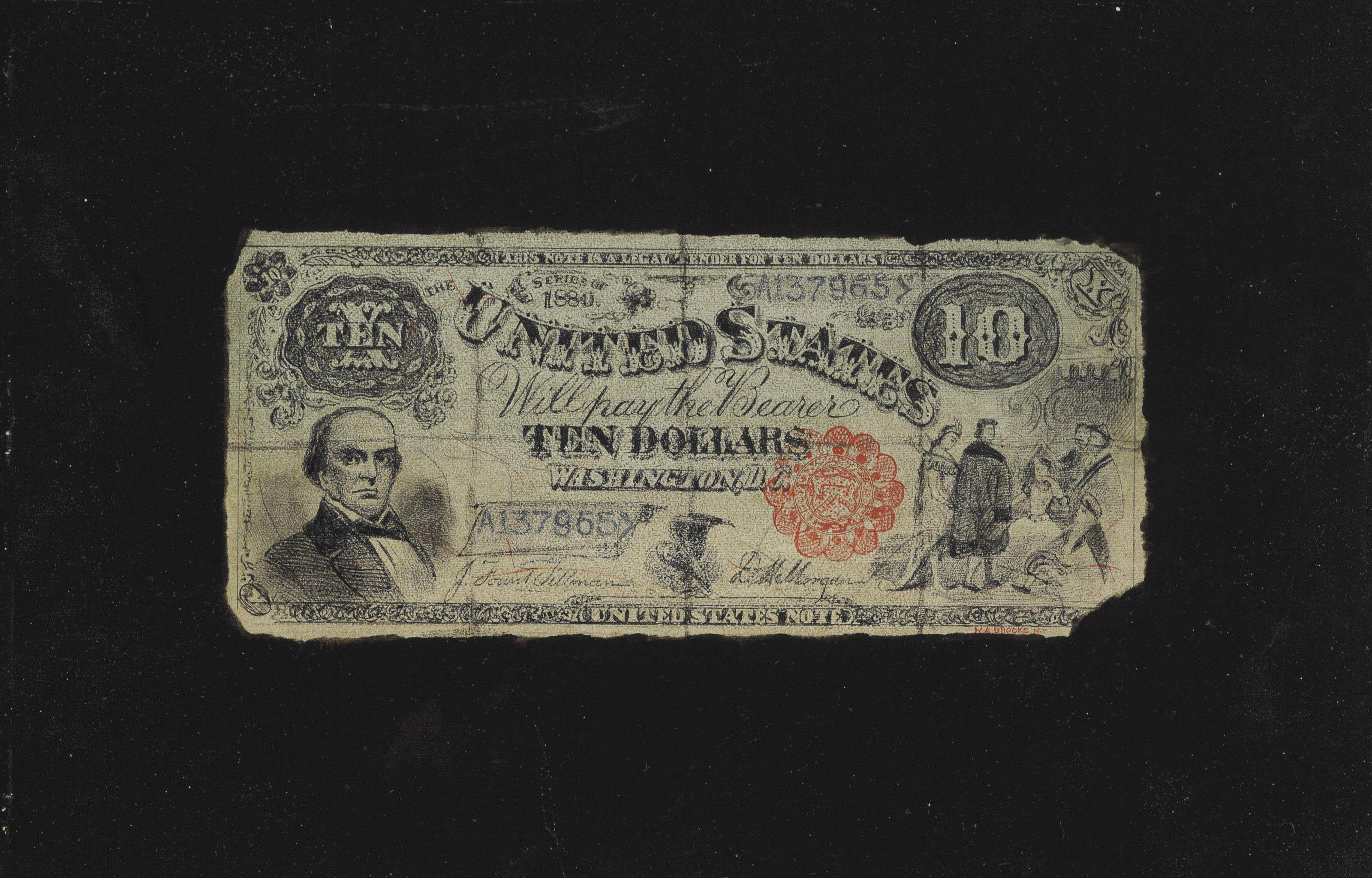 Ten Dollar Bill with Red Treasury Seal