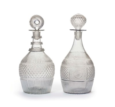 TWO MOLD-BLOWN GLASS DECANTERS
