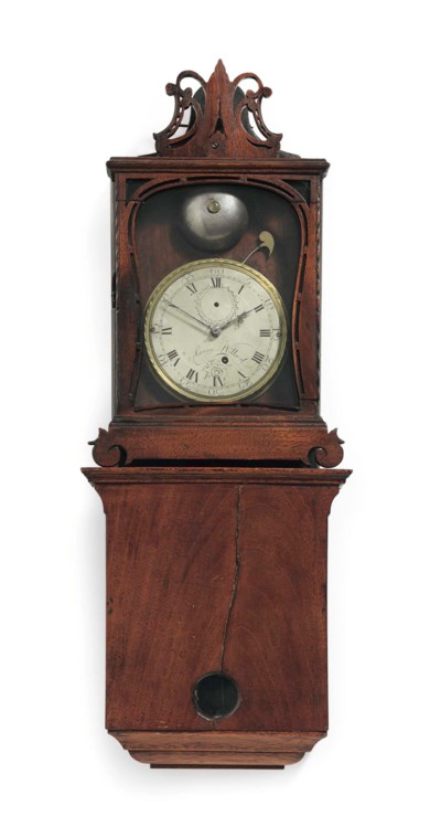 A CHIPPENDALE MAHOGANY WALL CL