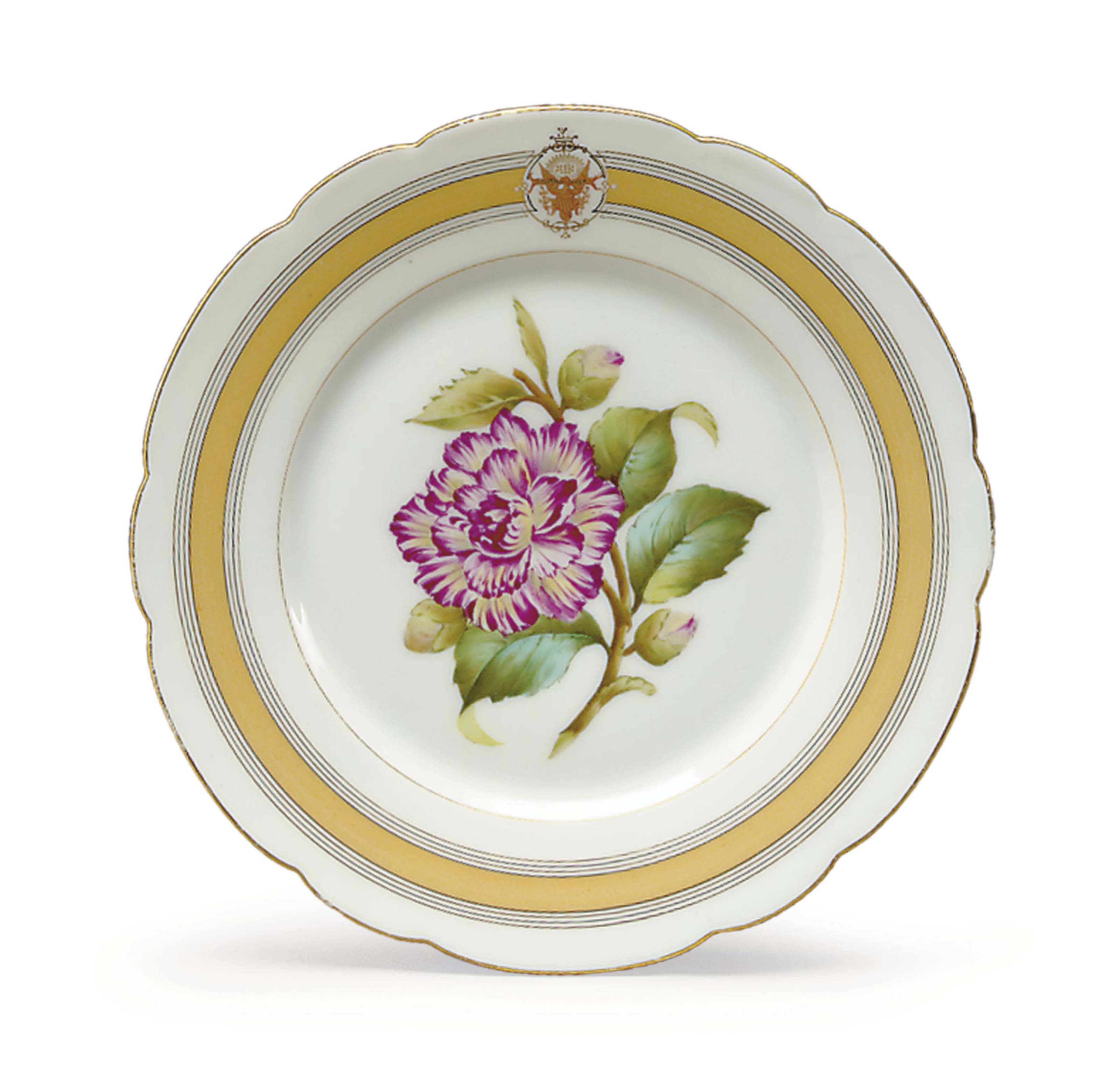 A DESSERT PLATE FROM A STATE SERVICE OF ULYSSES S. GRANT (1869-1877)