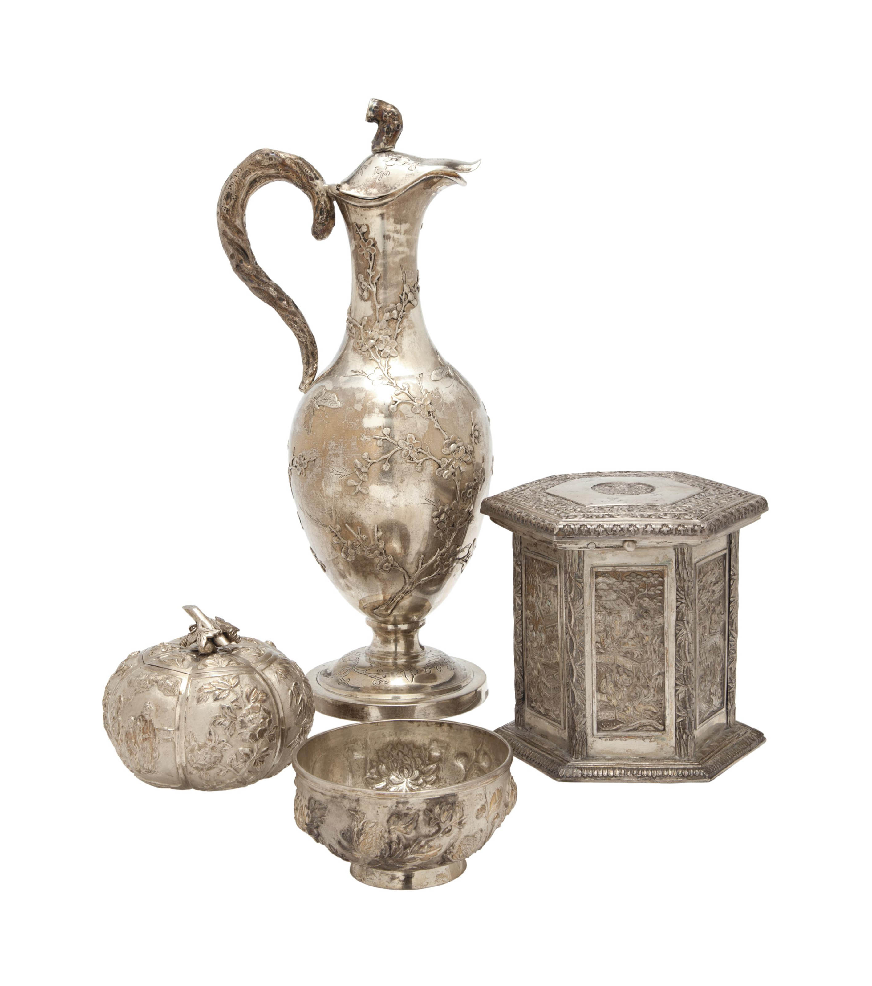 A GROUP OF FOUR CHINESE EXPORT SILVER TABLEWARES,