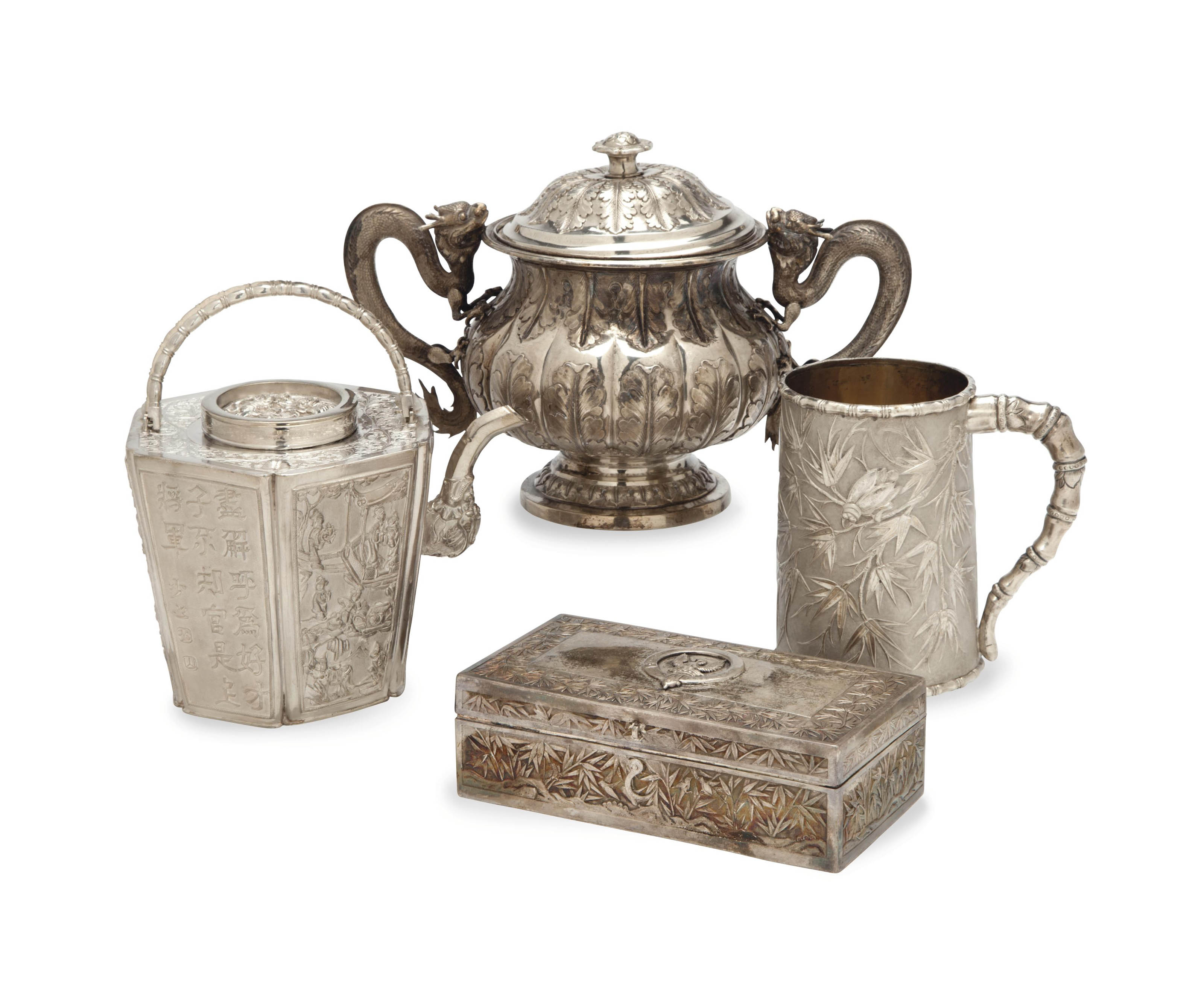 FOUR CHINESE EXPORT SILVER TABLEWARES,