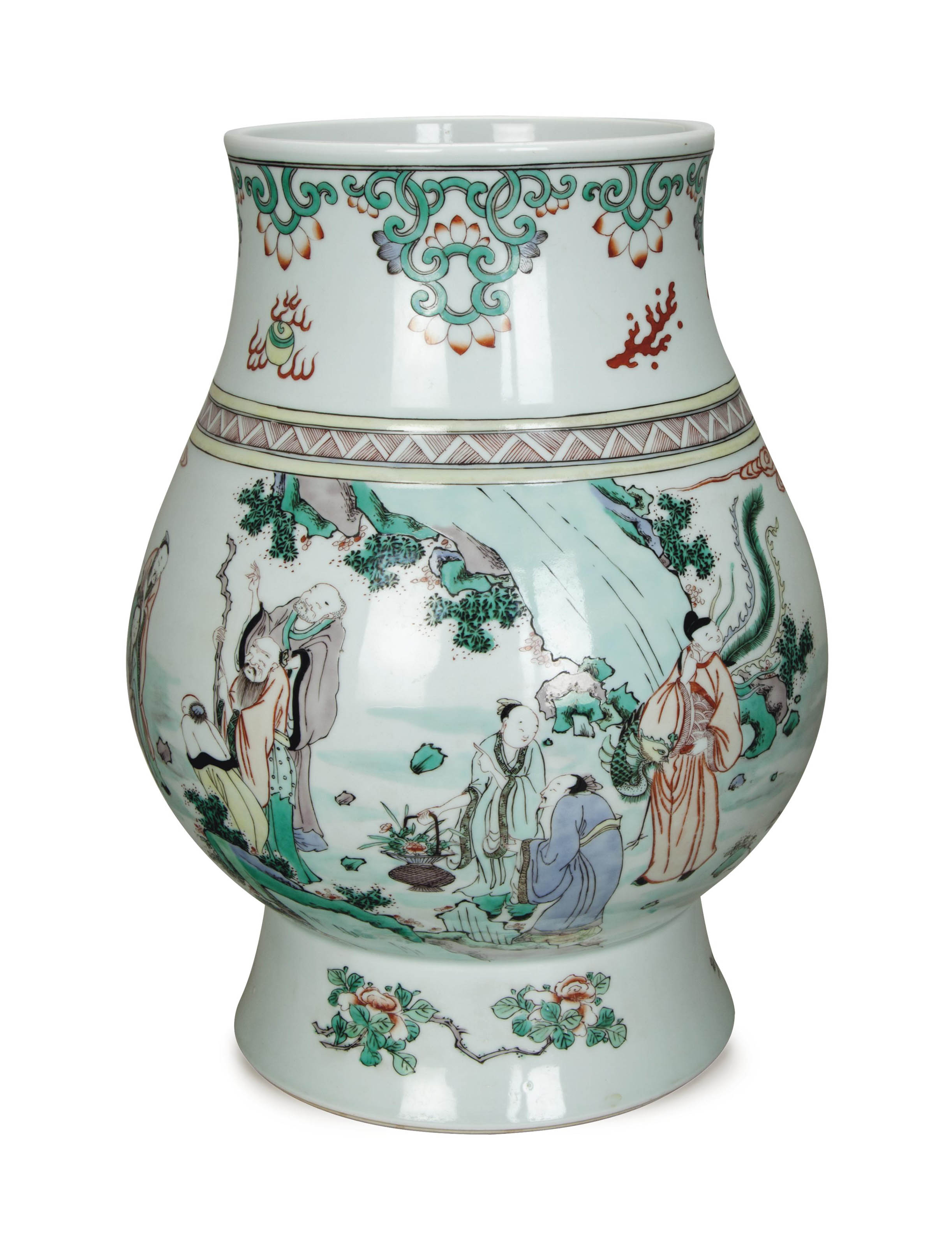A LARGE CHINESE FAMILLE VERTE PEAR-SHAPED VASE