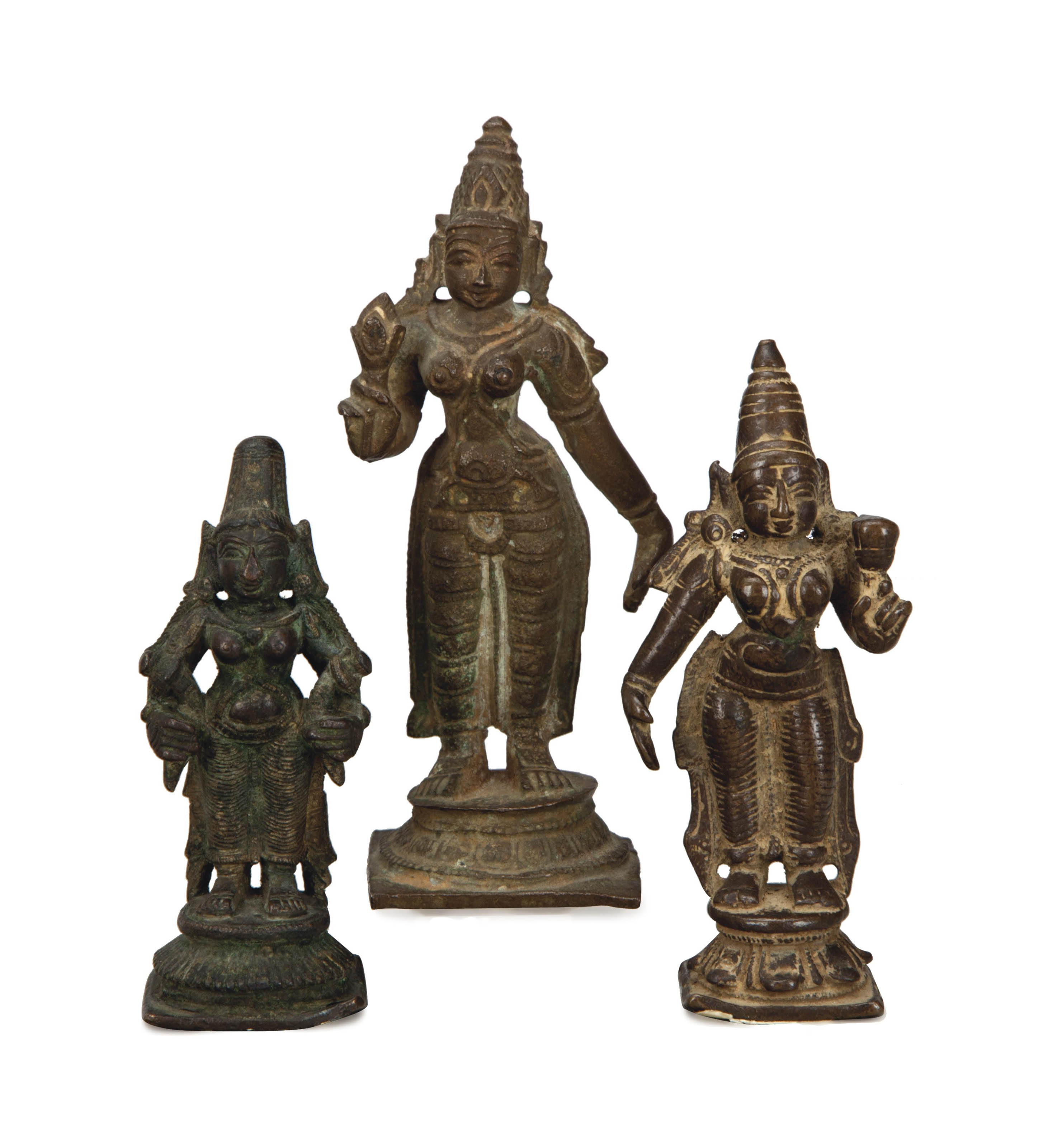THREE SOUTH INDIAN BRONZE FIGURES OF DEVI,