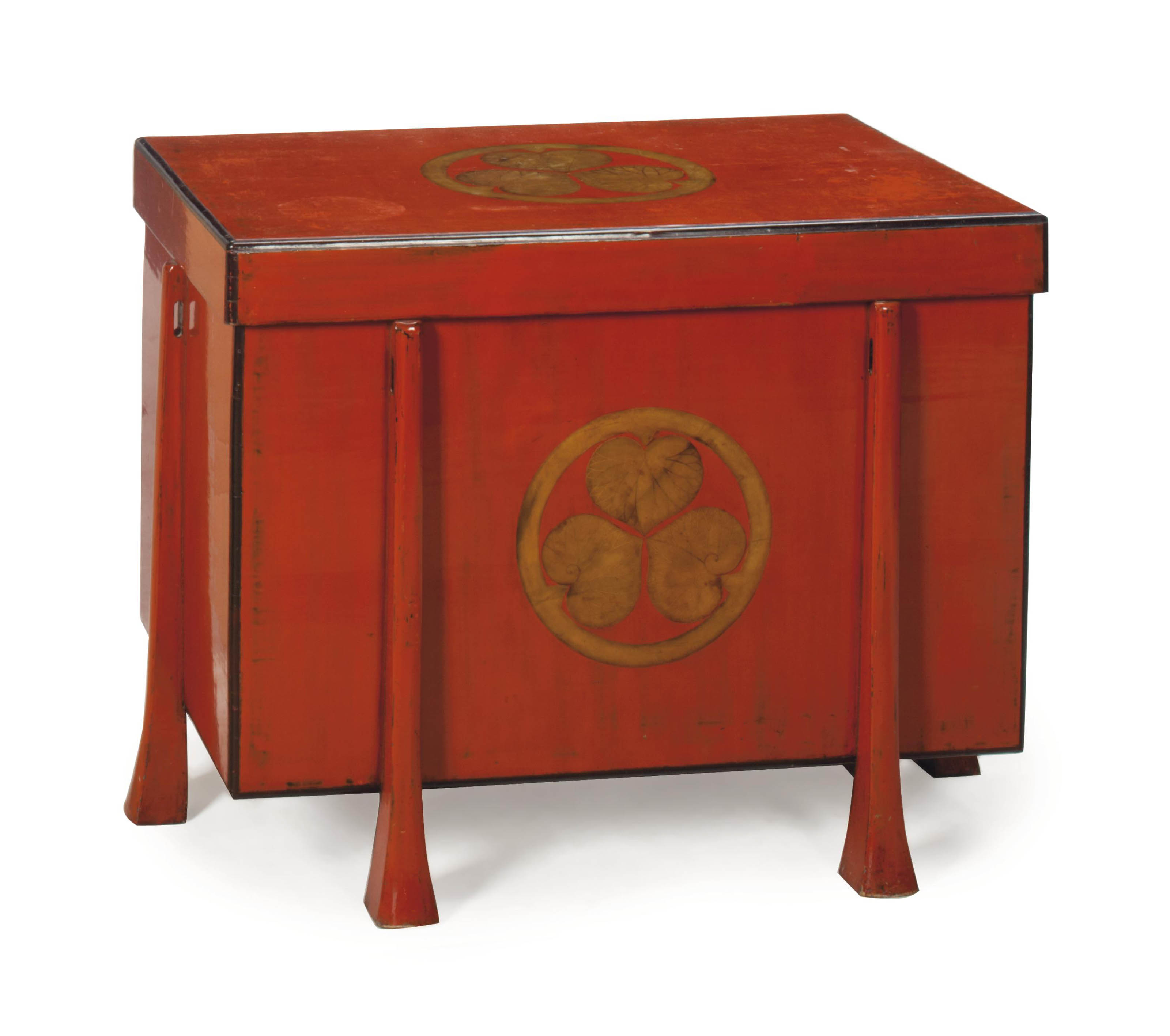 A JAPANESE GILT DECORATED RED LACQUER TRUNK AND COVER