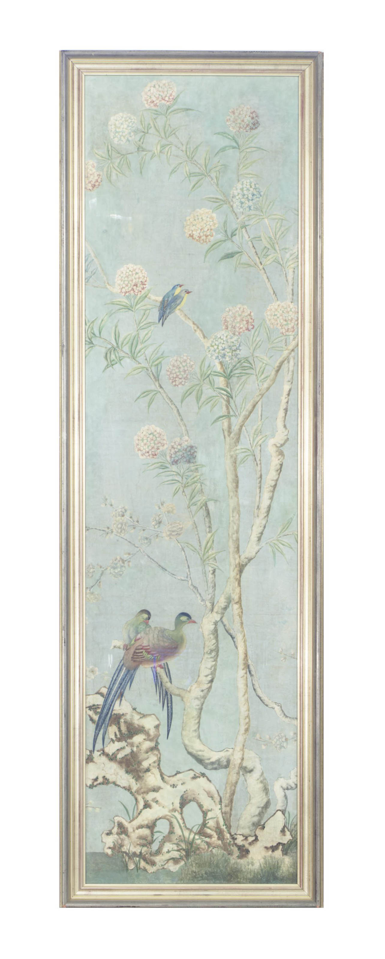 A Framed Chinese Pale Blue Ground Wallpaper Panel Late 18th