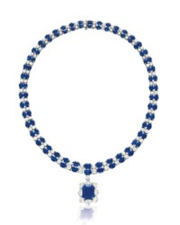 A SAPPHIRE AND DIAMOND NECKLACE, BY OSCAR HEYMAN & BROTHERS
