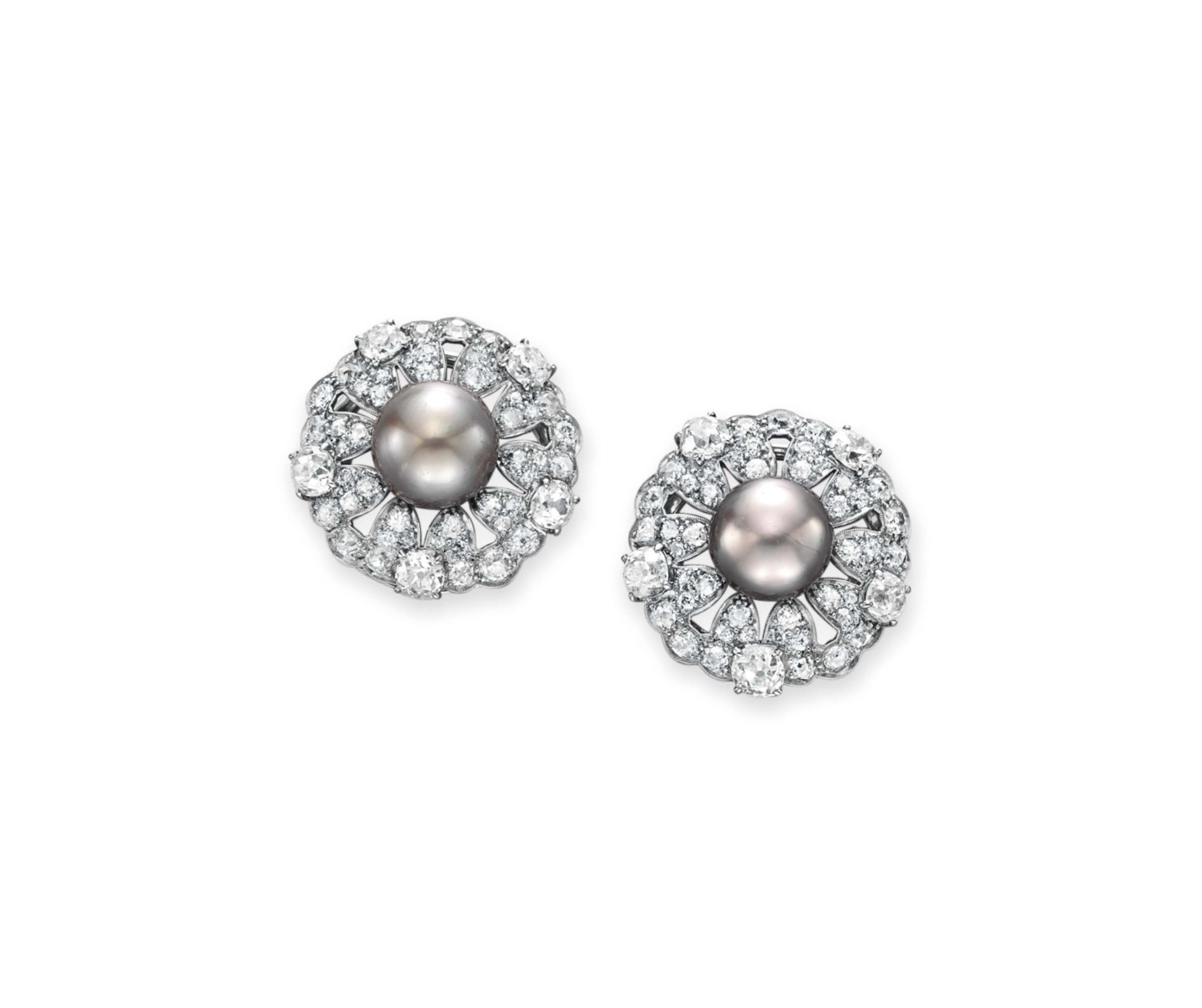 A PAIR OF DIAMOND AND NATURAL PEARL CLIP BROOCHES, BY RAYMOND YARD