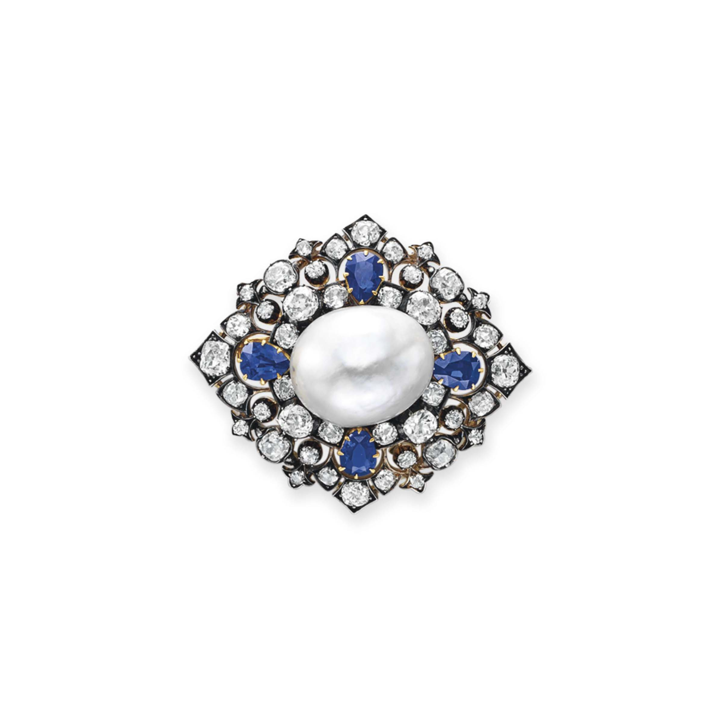 AN ANTIQUE DIAMOND, SAPPHIRE AND NATURAL PEARL BROOCH