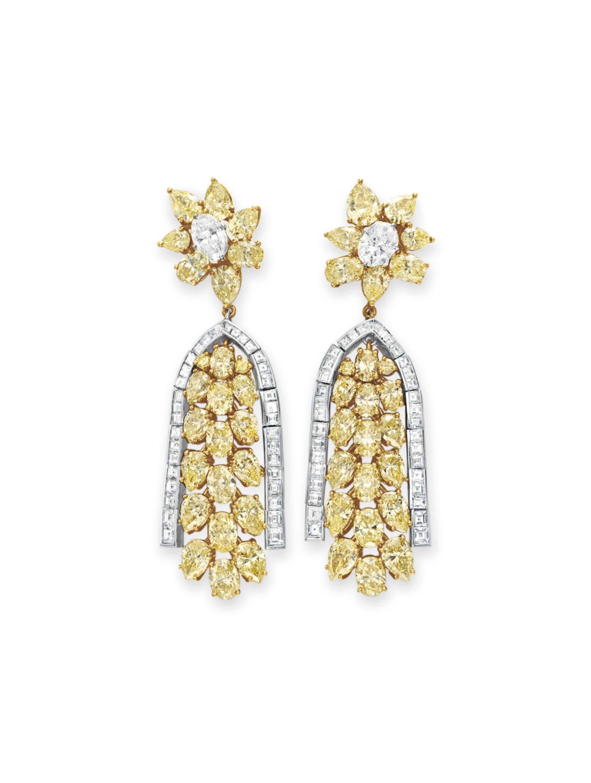 A PAIR OF COLORED DIAMOND AND DIAMOND EAR PENDANTS, BY DAVID MORRIS