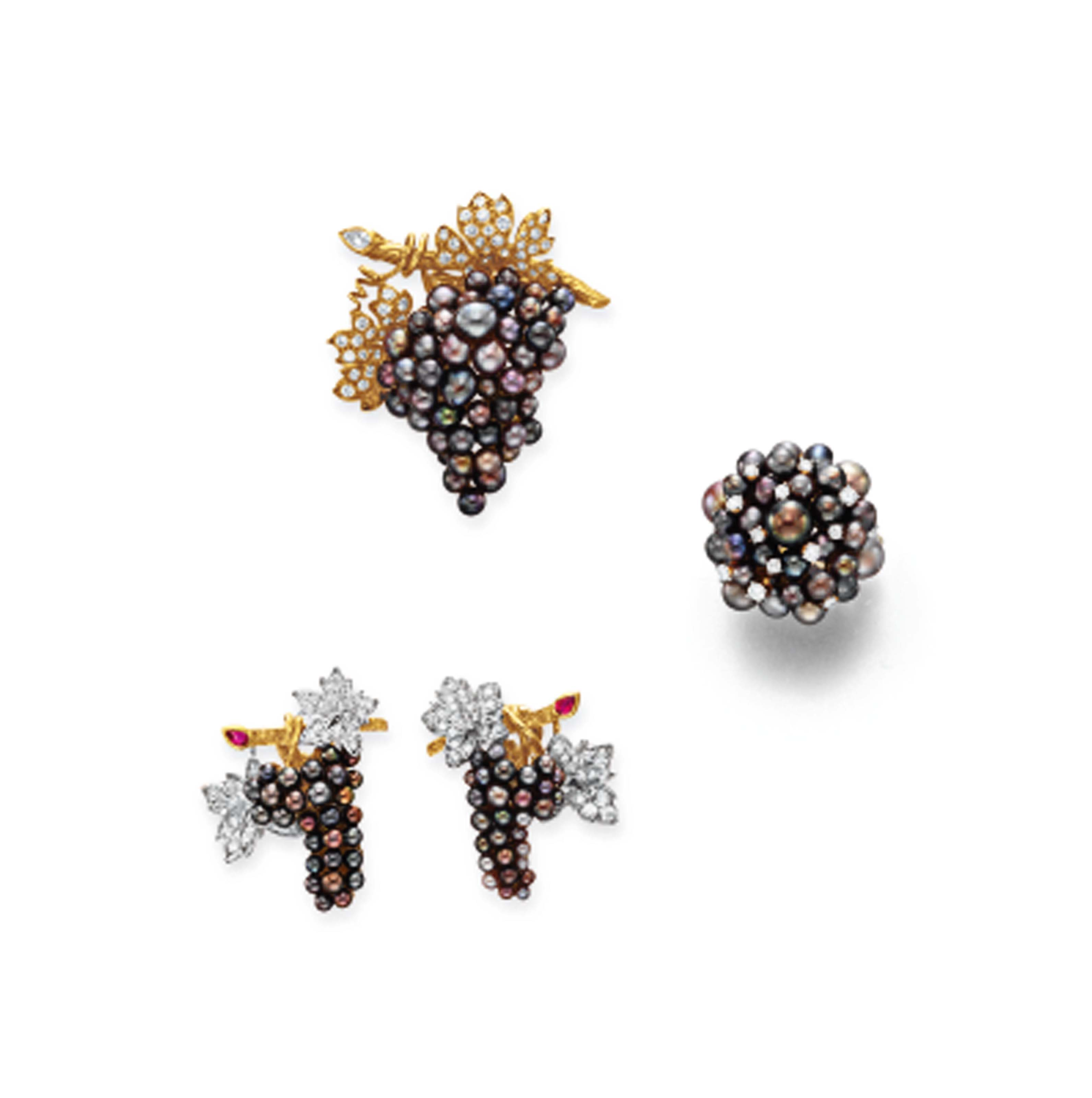 A SET OF SEED PEARL AND DIAMOND JEWELRY, BY JULIUS COHEN