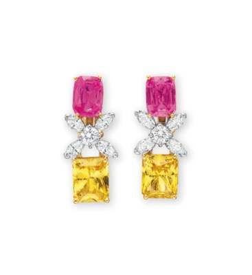 A PAIR OF PINK SAPPHIRE, YELLO