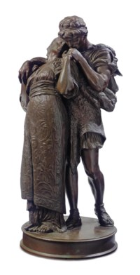 AN ITALIAN PATINATED BRONZE FIGURAL GROUP ENTITLED 'WEDDED'