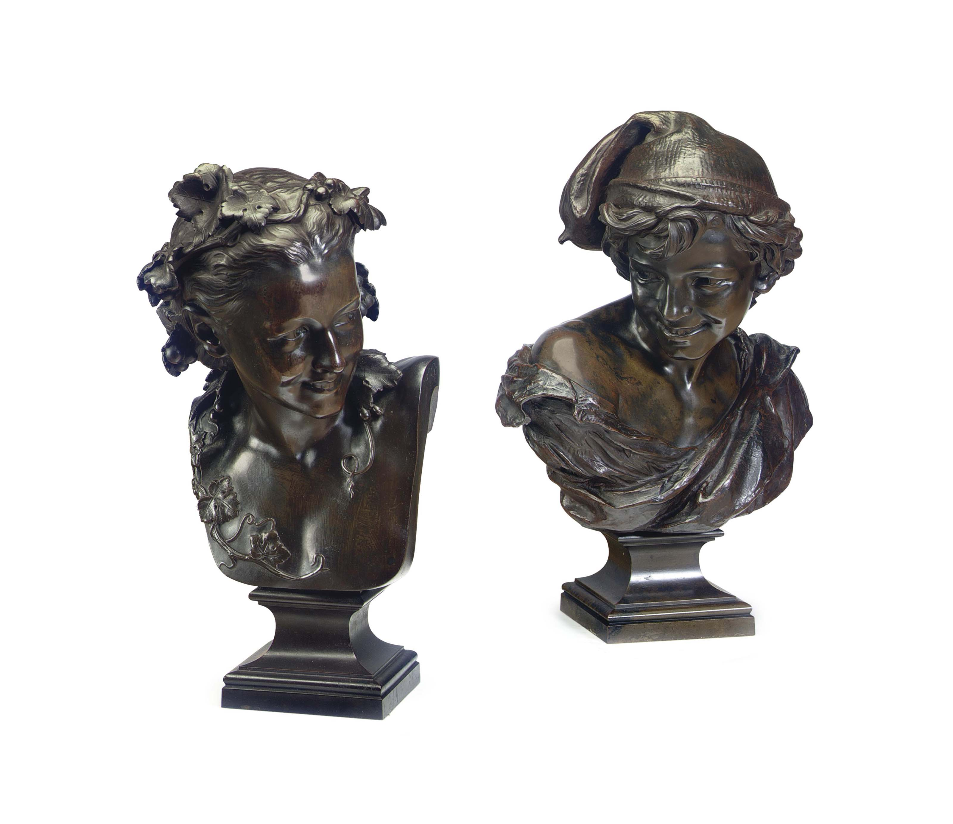 A MATCHED PAIR OF FRENCH PATINATED BRONZE BUSTS ENTITLED 'LE RIEUR NAPOLITAIN' AND 'L'ESPIEGLE'