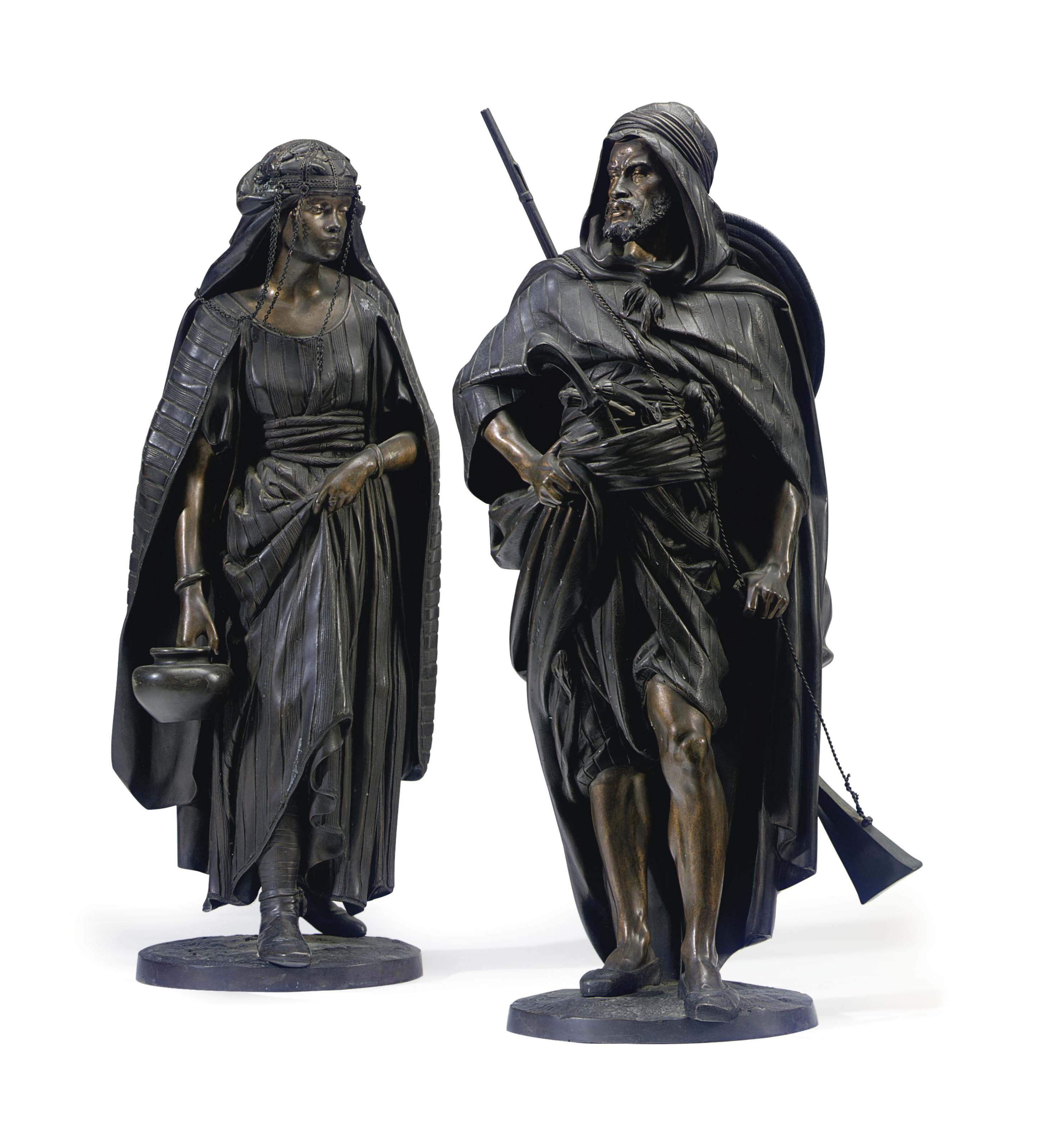 A PAIR OF FRENCH PATINATED BRONZE FIGURES ENTITLED 'LA PORTEUSE' AND 'LE GUERRIER ARAB'