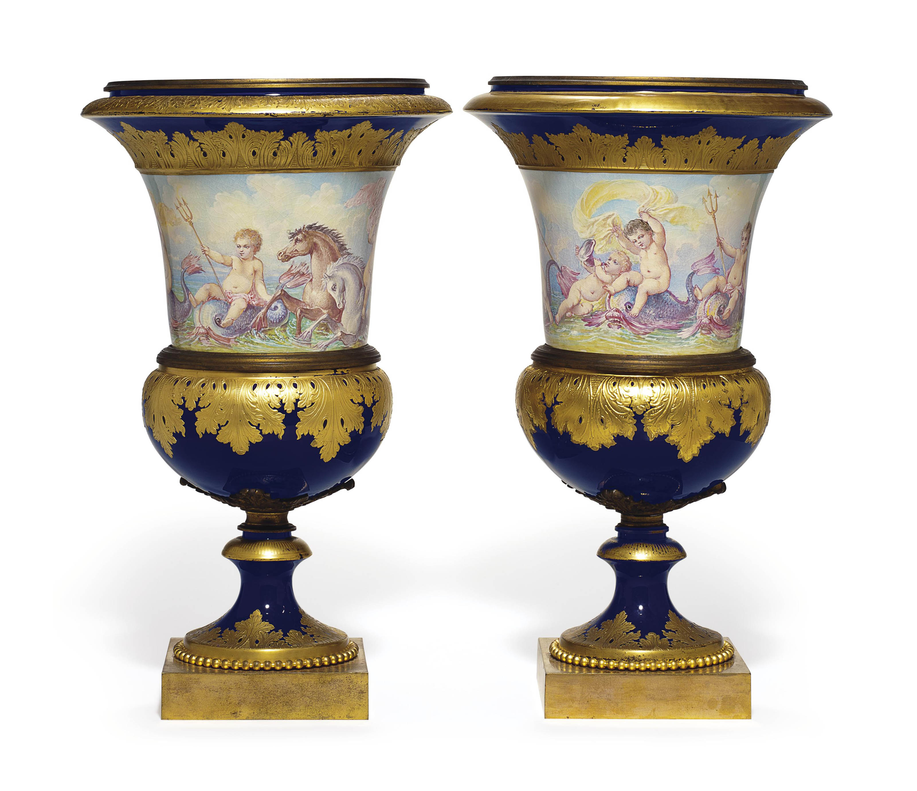 TWO GILT-METAL MOUNTED SEVRES STYLE PORCELAIN COBALT-BLUE GROUND CAMPANA VASES