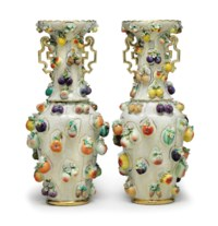 A PAIR OF JACOB PETIT PORCELAIN FRUIT-ENCRUSTED VASES