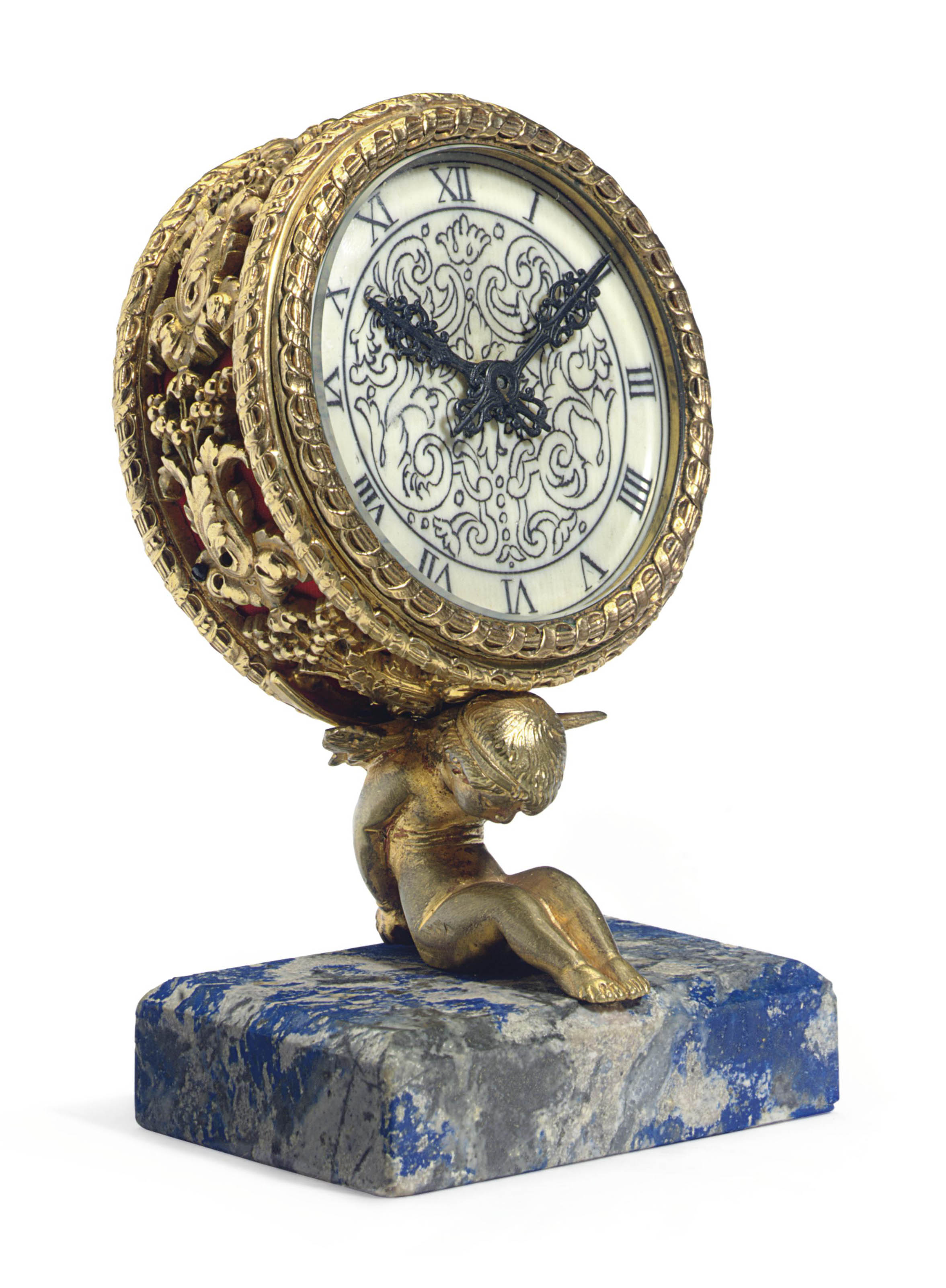 AN AMERICAN GILT-BRONZE, IVORY AND LAPIS LAZULI TABLE CLOCK